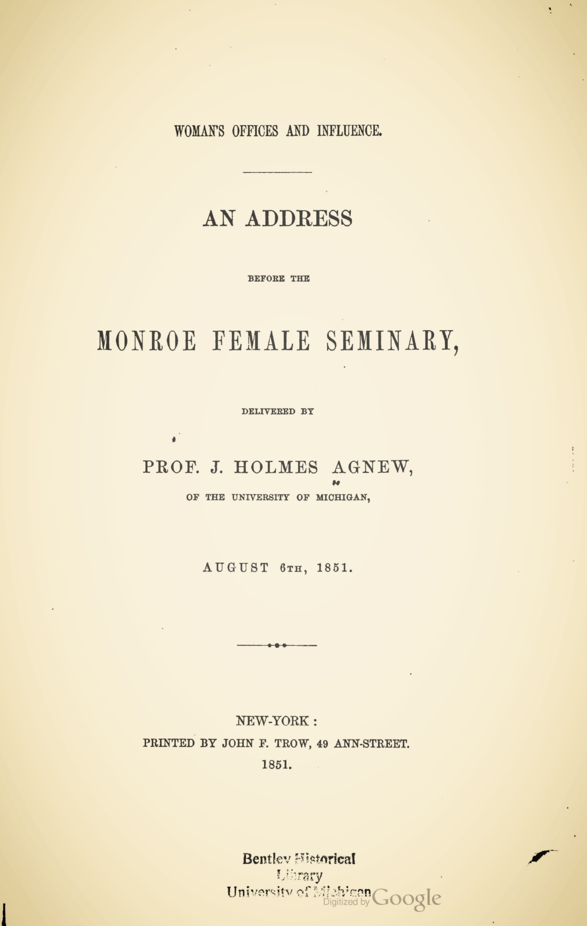 Agnew, John Holmes, Woman's Offices and Influence Title Page.jpg