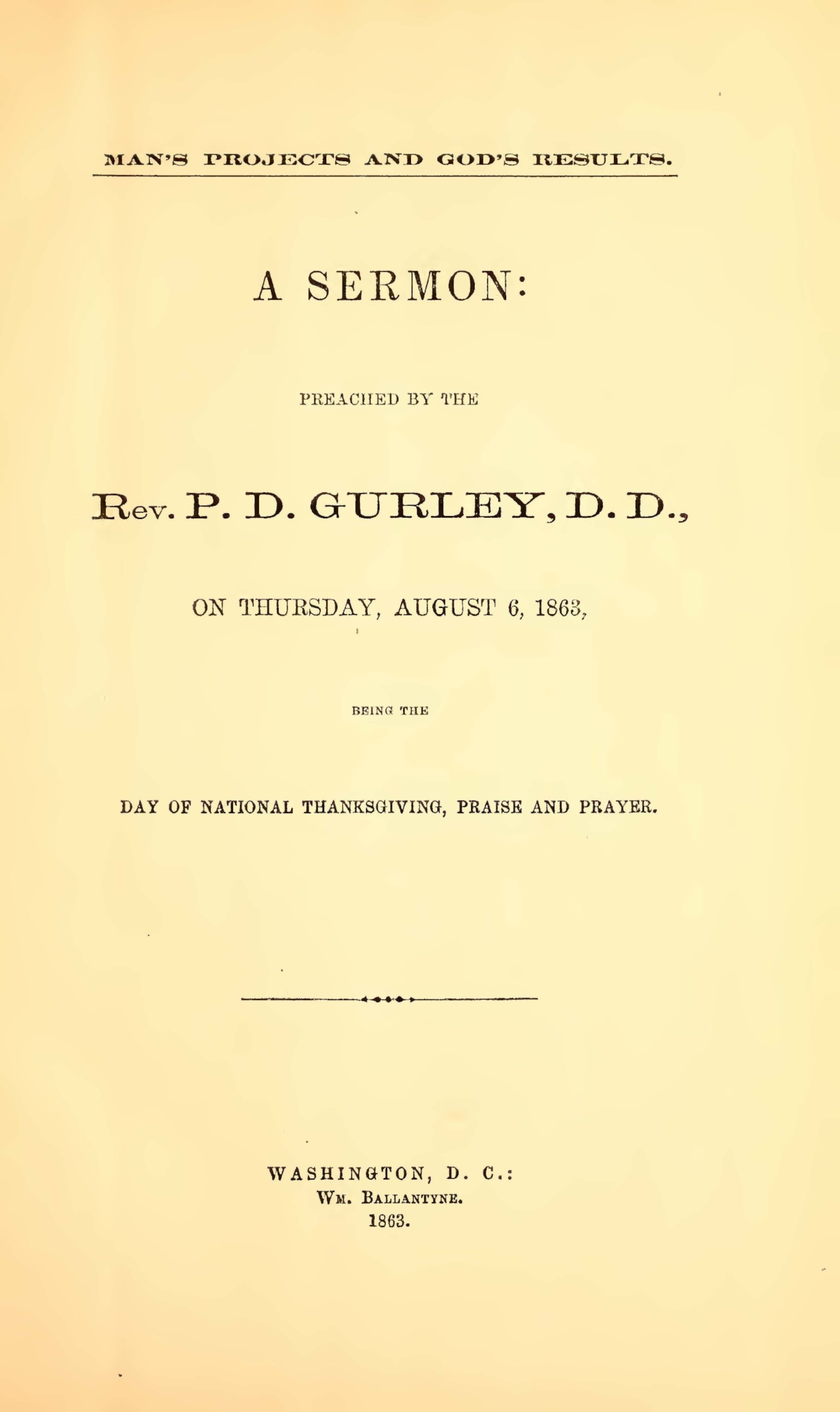 Gurley, Phineas Densmore, Man's Projects and God's Results Title Page.jpg