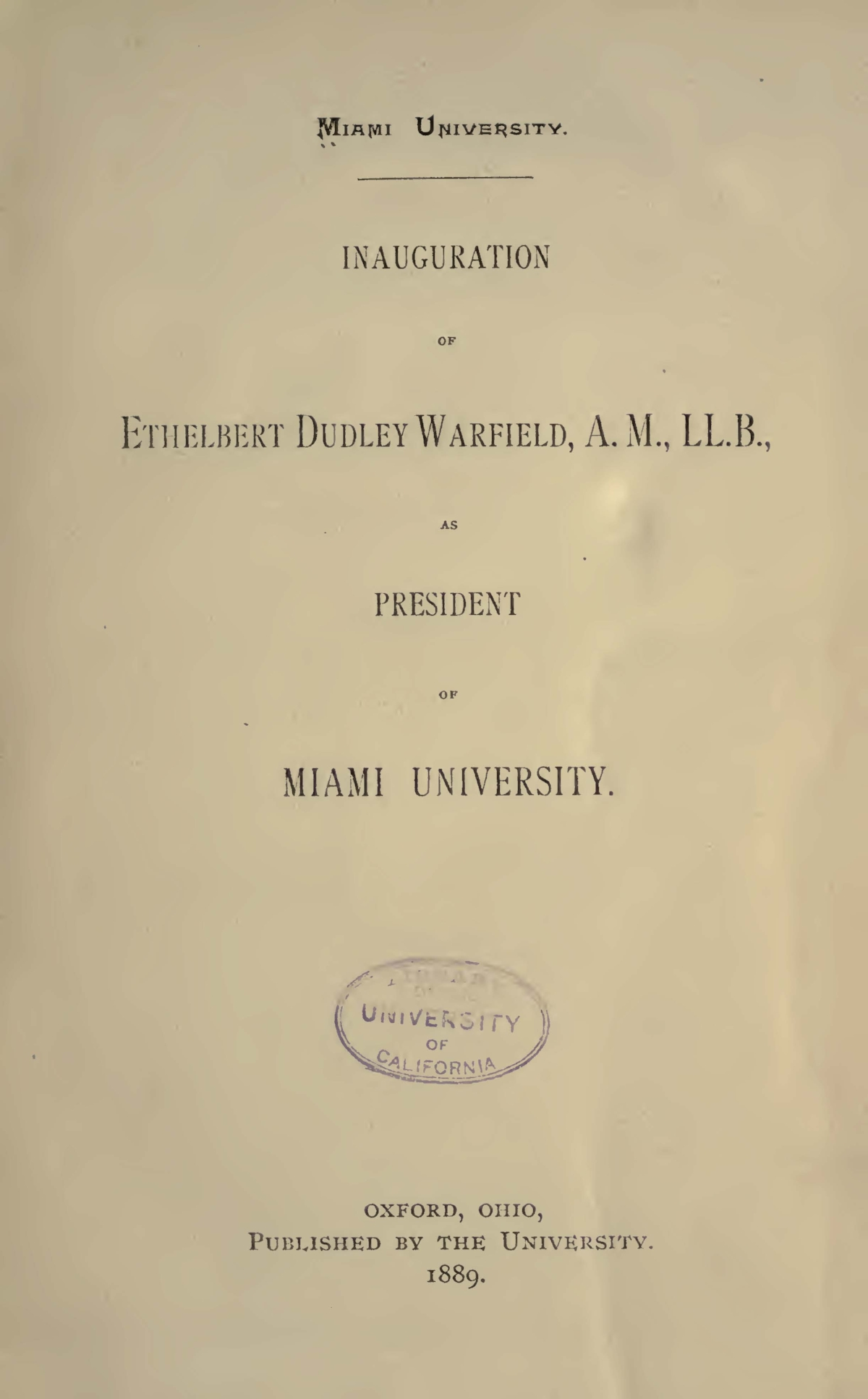 Warfield, Ethelbert Dudley, Inauguration of Ethelbert Dudley Warfield Title Page.jpg