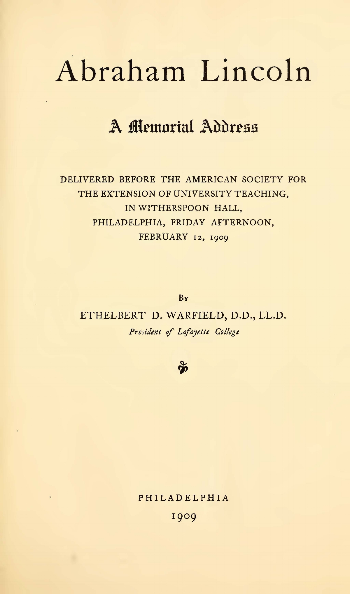 Warfield, Ethelbert Dudley, Abraham Lincoln Title Page.jpg