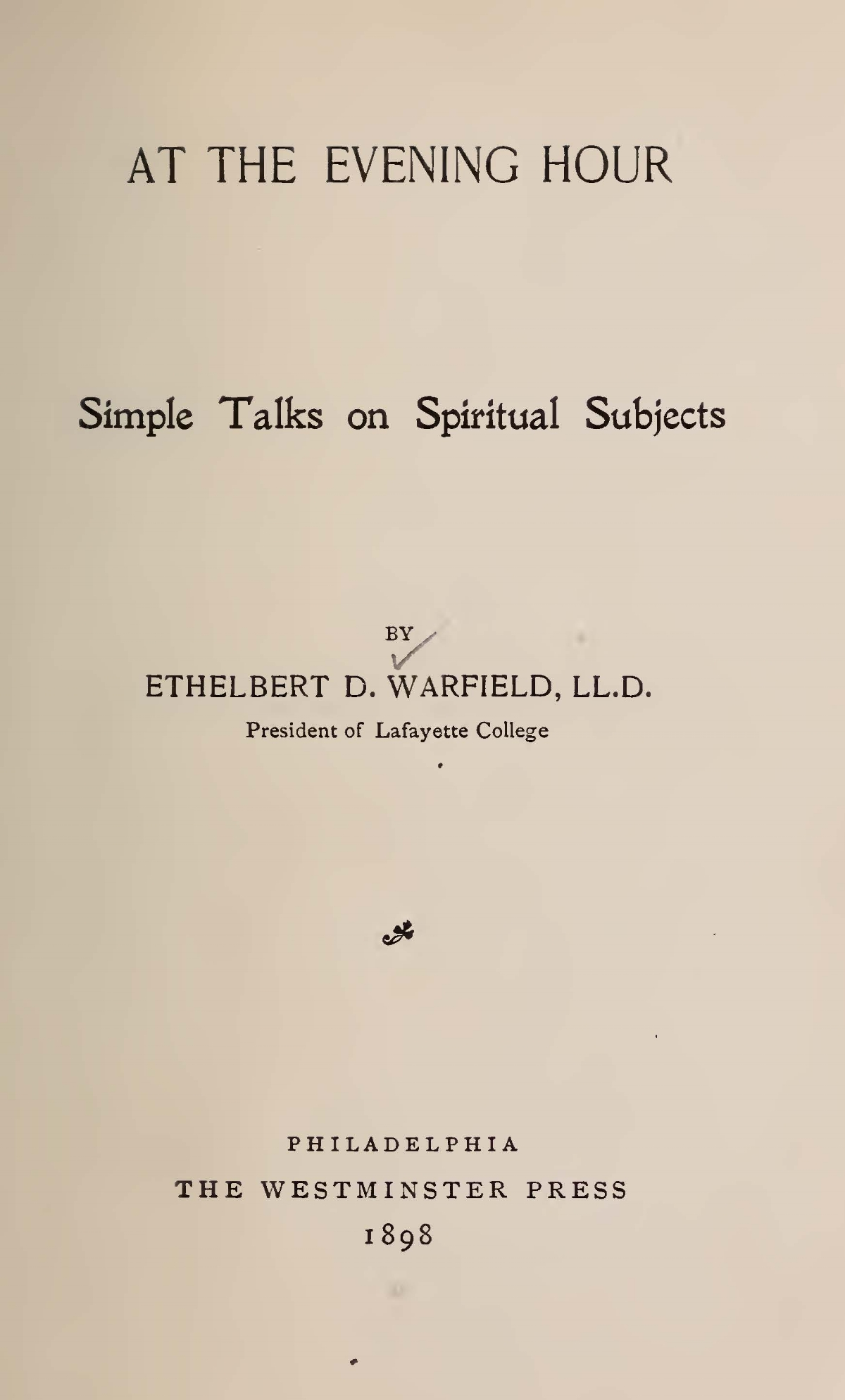 Warfield, Ethelbert Dudley, At the Evening Hour Title Page.jpg