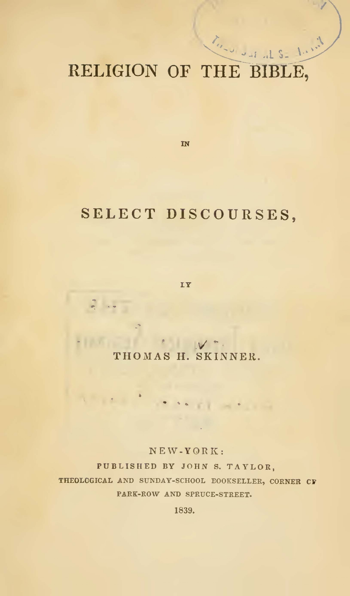 Skinner, Thomas Harvey, Religion of the Bible Title Page.jpg