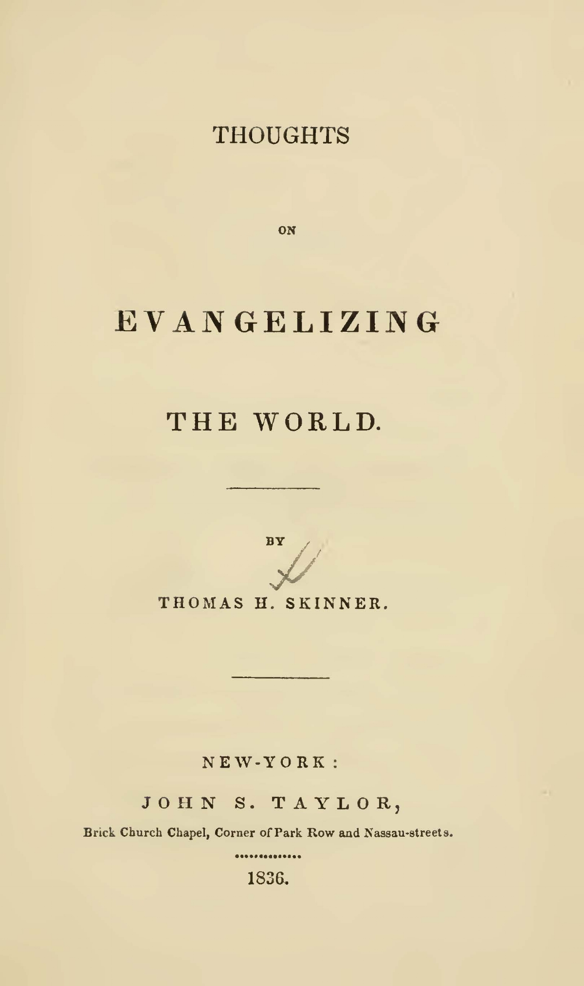 Skinner, Thomas Harvey, Thoughts on Evangelizing the World Title Page.jpg
