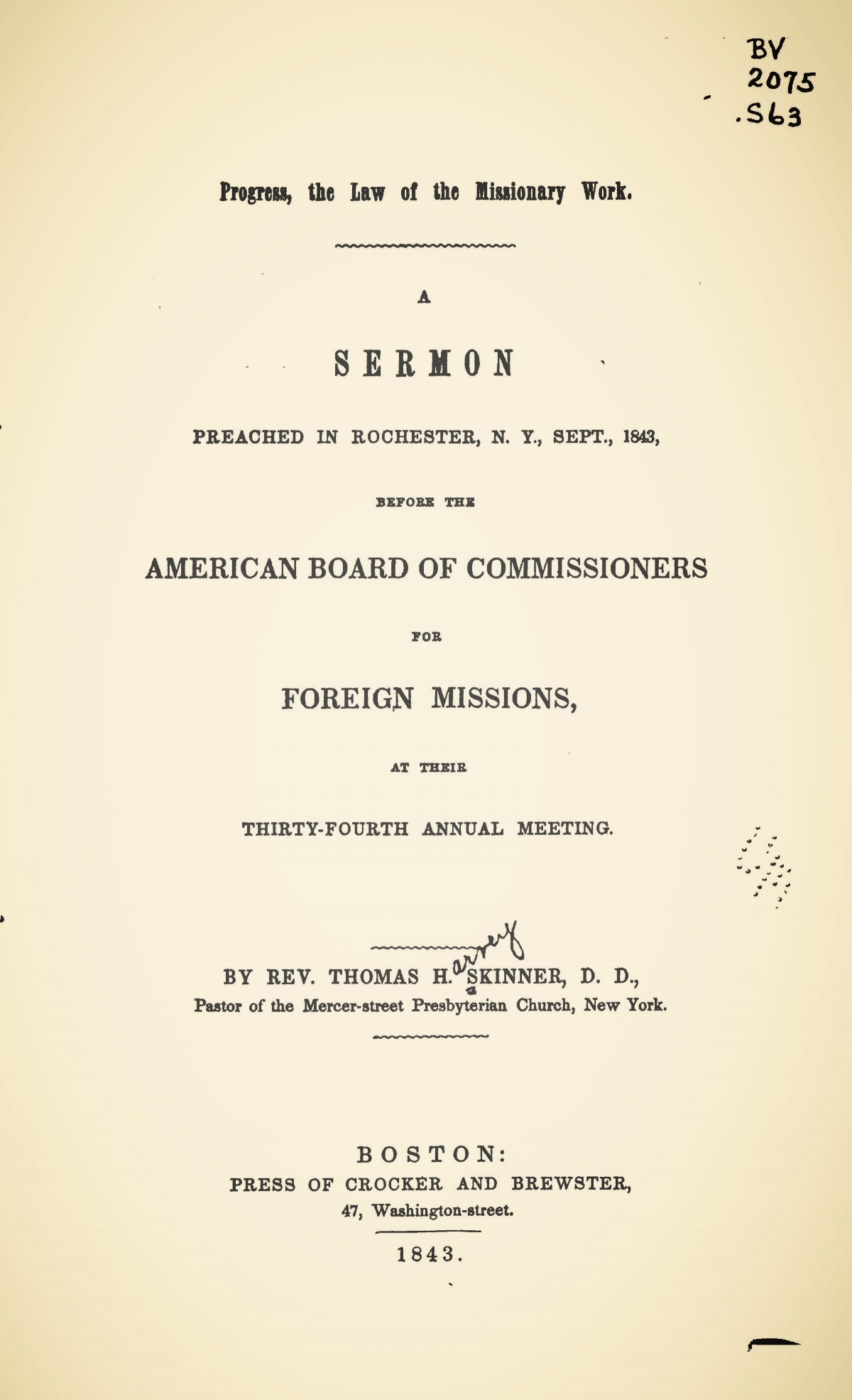 Skinner, Thomas Harvey, Progress, the Law of the Missionary Work Title Page.jpg