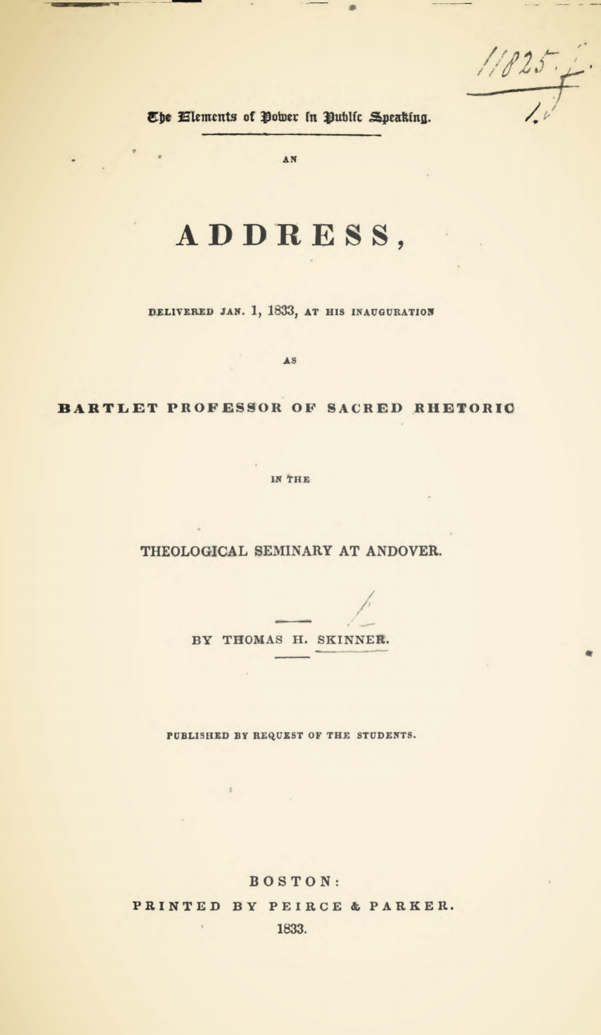 Skinner, Sr., Thomas Harvey, The Elements of Power in Public Speaking Title Page.jpg