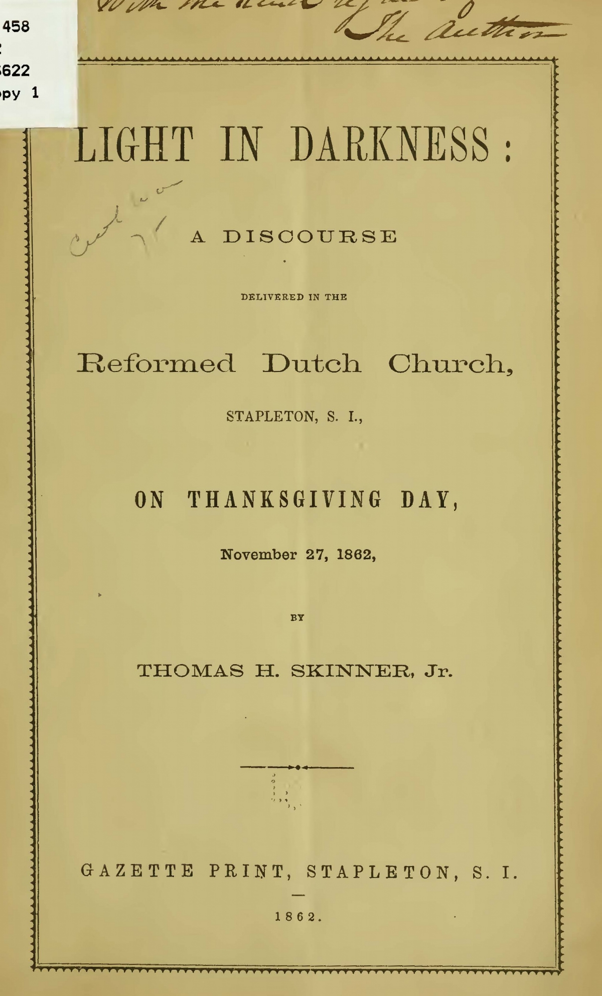 Skinner, Jr., Thomas Harvey, Light in Darkness Title Page.jpg