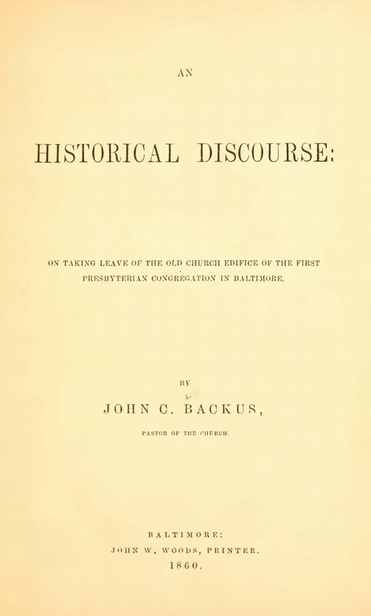 Backus, John Chester, Historical Discourse Title Page.jpg