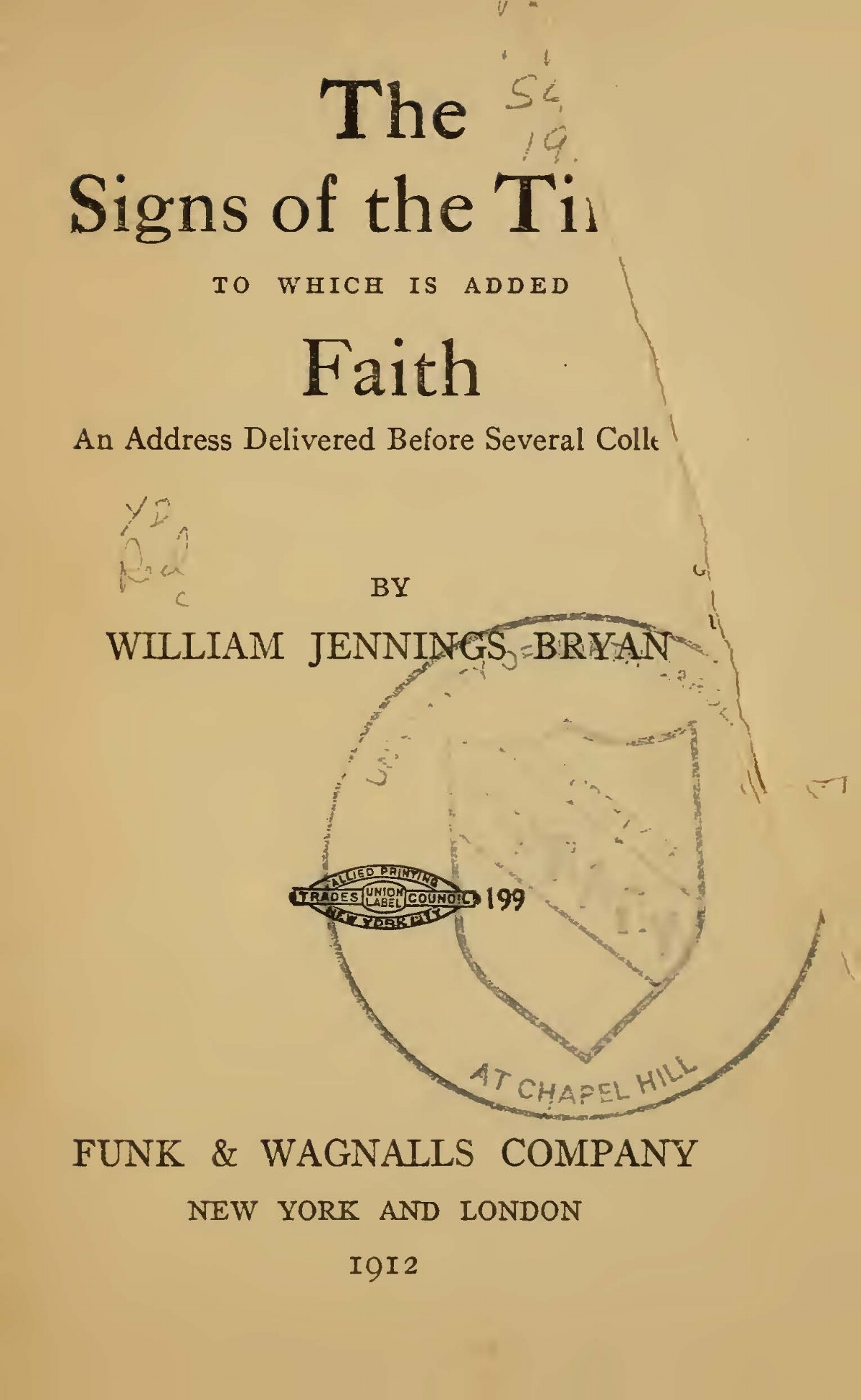 Bryan, Sr., William Jennings, The Signs of the Times Title Page.jpg
