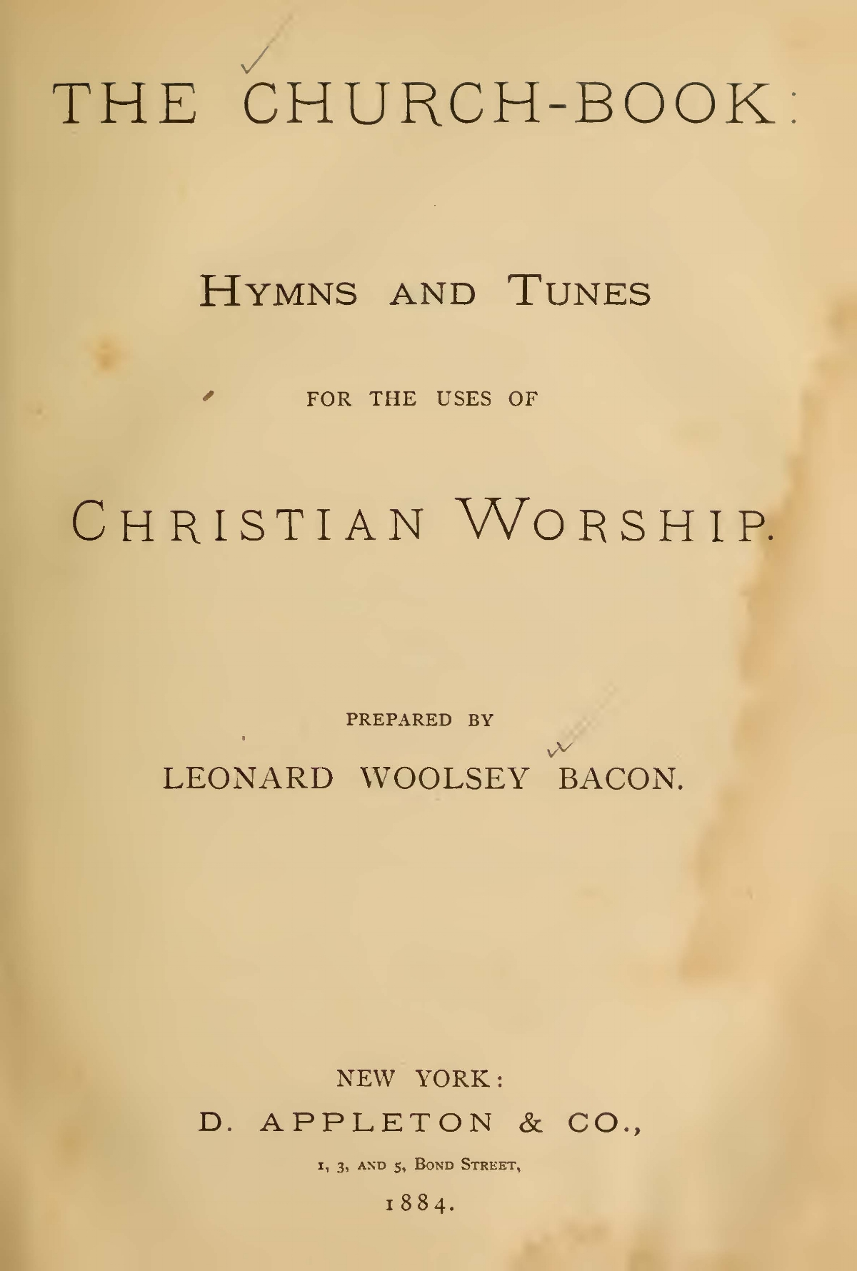 Bacon, Leonard Woolsey, The Church-Book Title Page.jpg