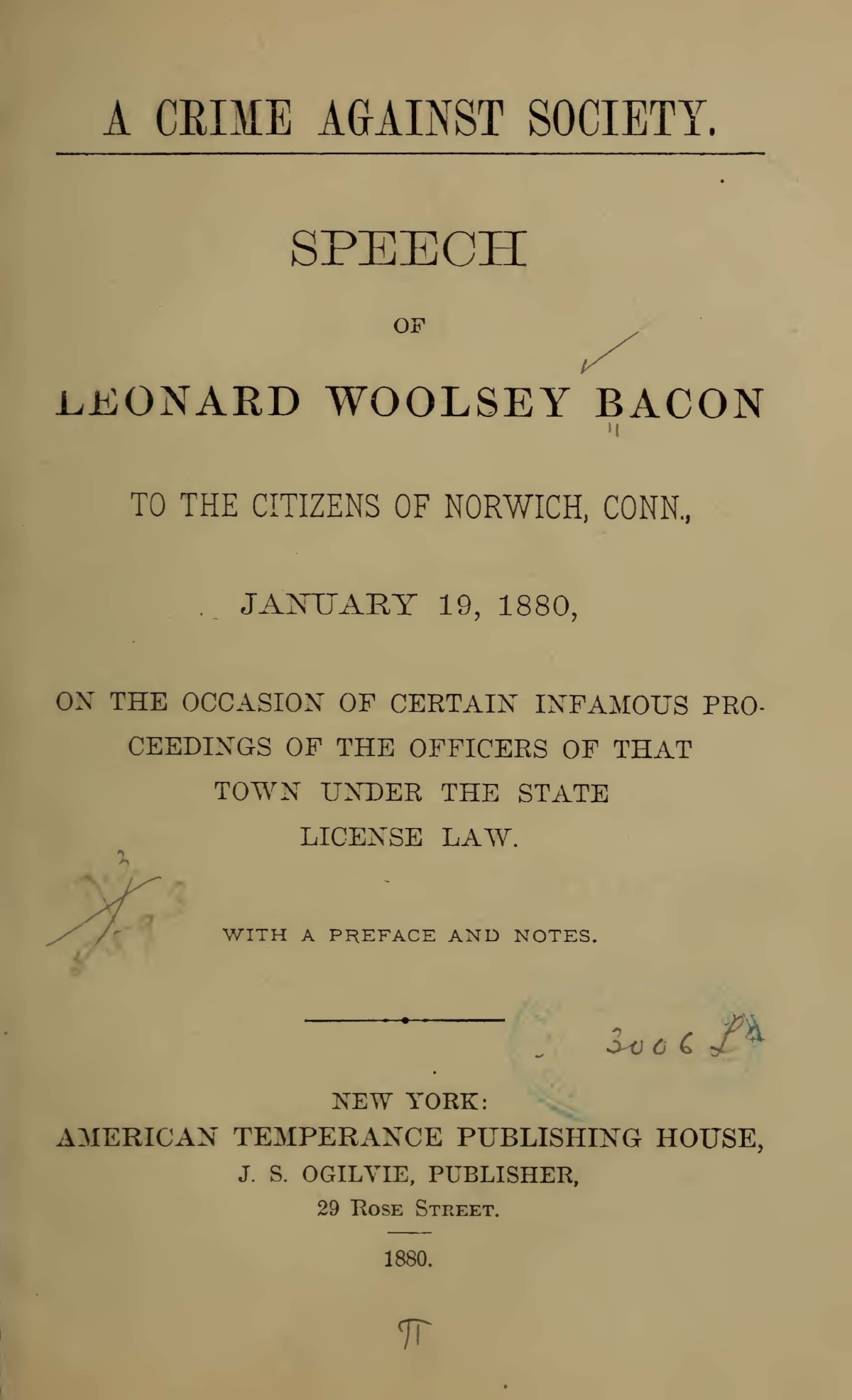 Bacon, Leonard Woolsey, A Crime Against Society Title Page.jpg
