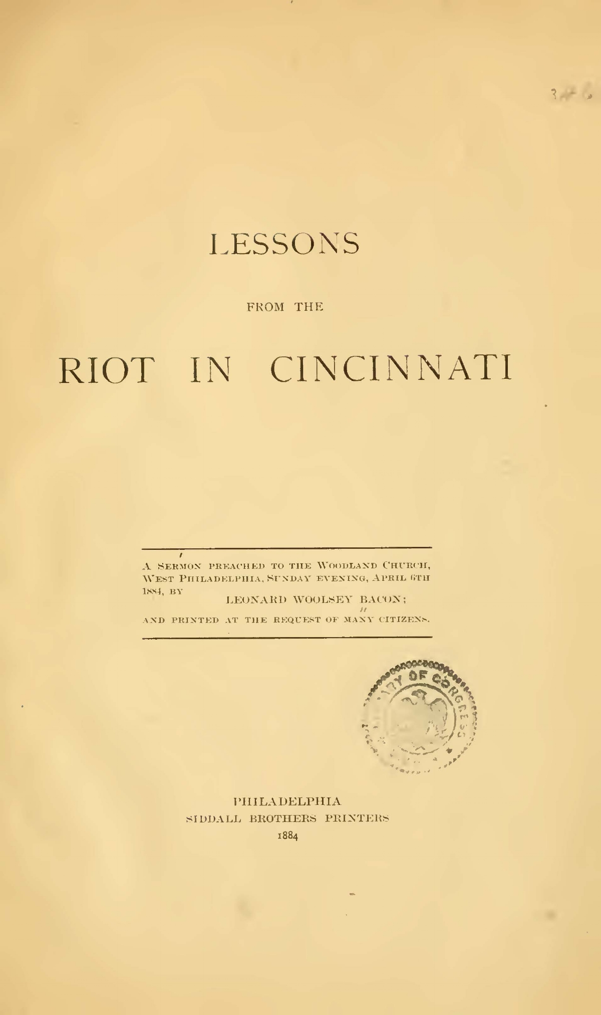 Bacon, Leonard Woolsey, Lessons From the Riot in Cincinnati Title Page.jpg
