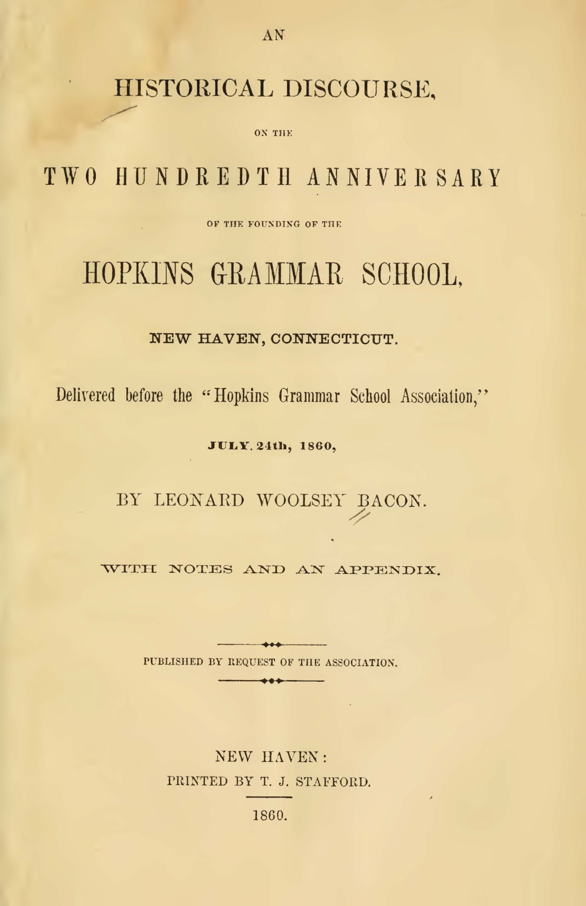 Bacon, Leonard Woolsey, An Historical Discourse Title Page.jpg