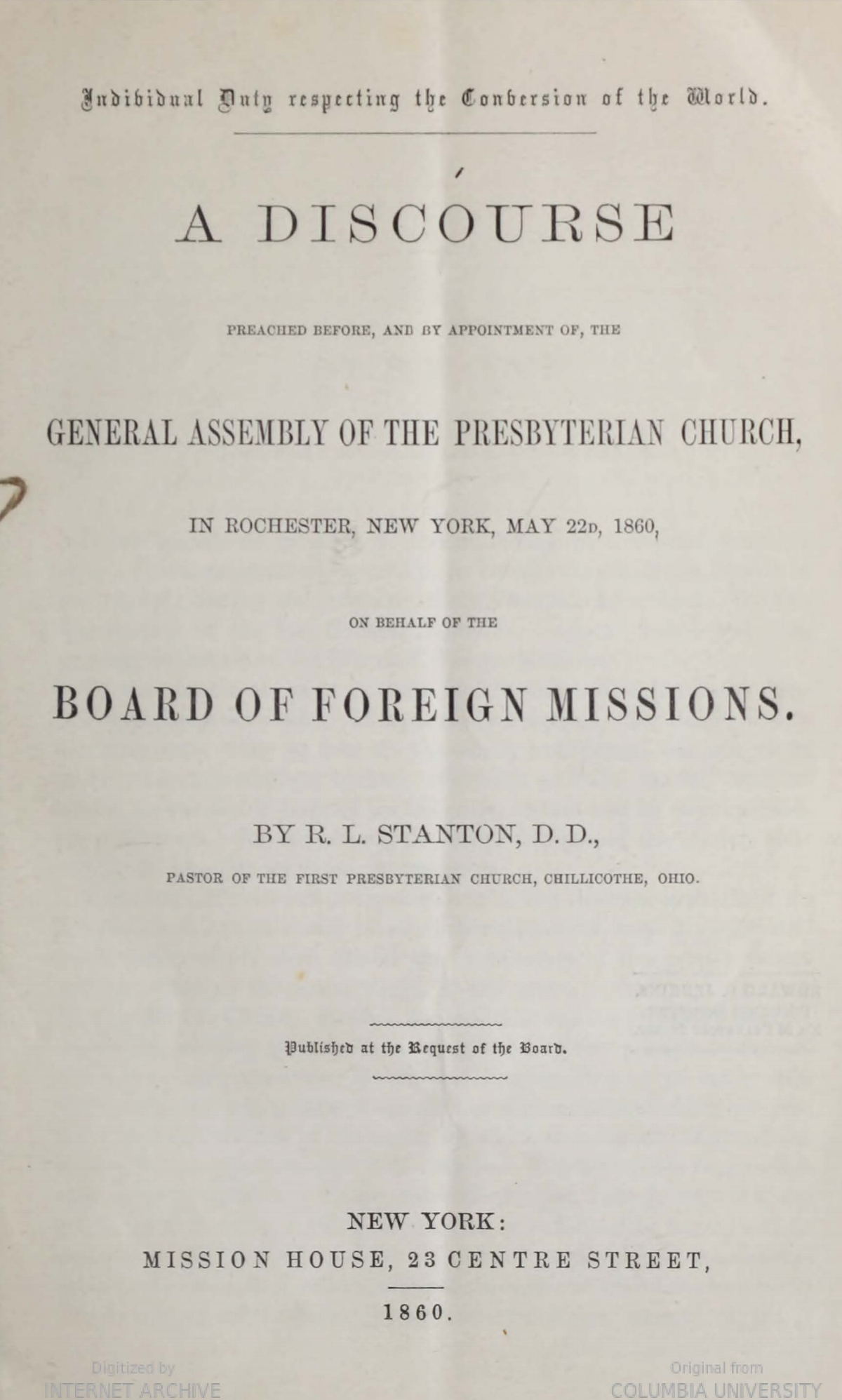 Stanton, Robert Lodowick, Individual Duty Respecting the Conversion of the World Title Page.jpg