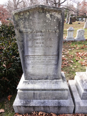 William Adams is buried at Mount Auburn Cemetery, Cambridge,, Massachusetts.