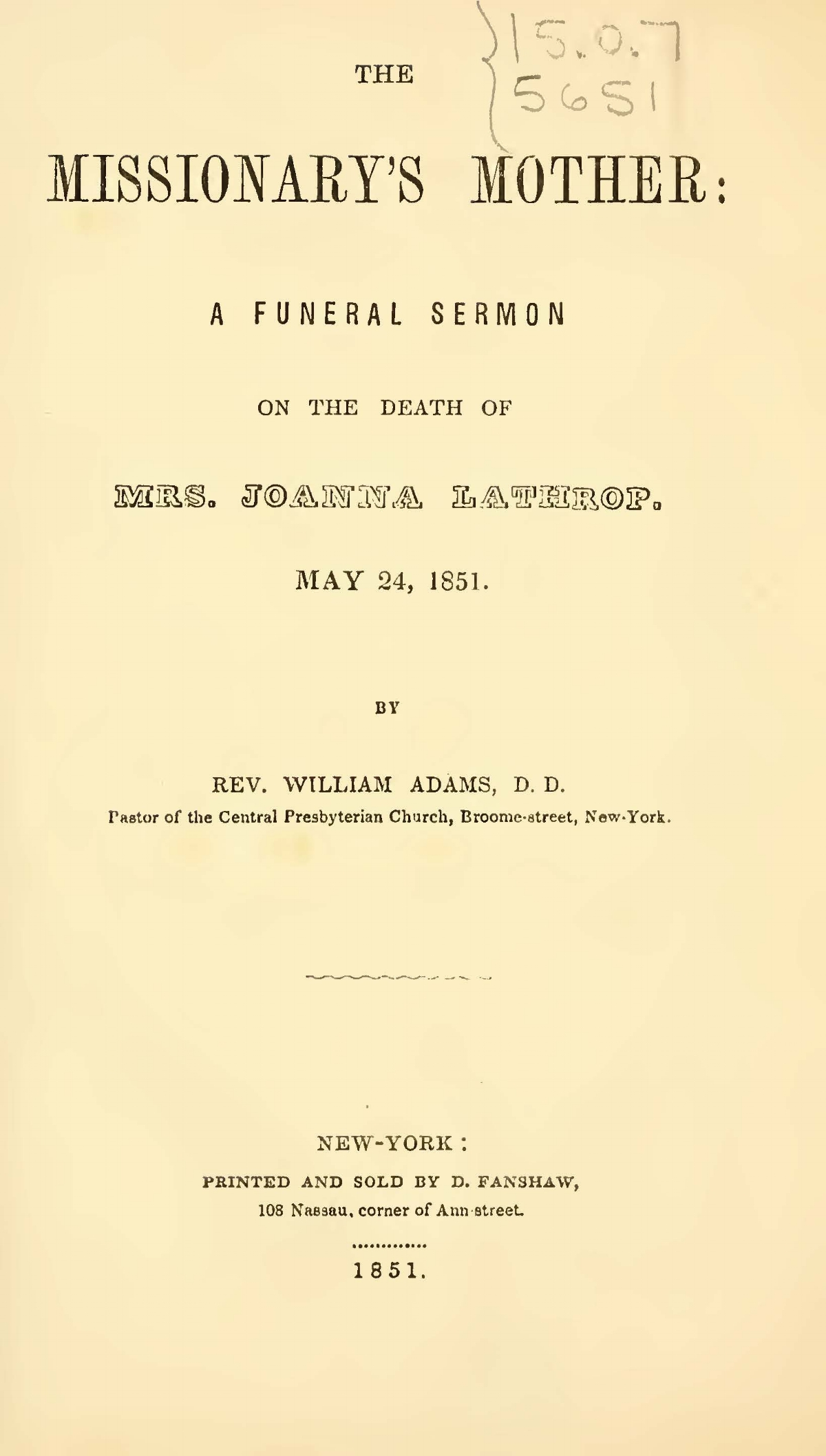 Adams, William, The Missionary's Mother Title Page.jpg