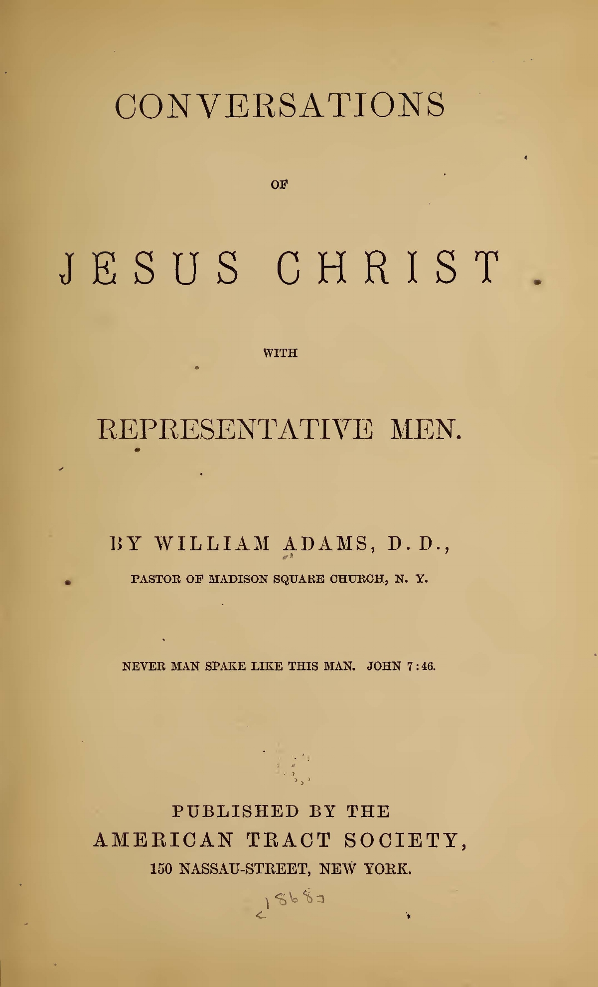 Adams, William, Conversations of Jesus Christ With Representative Men Title Page.jpg