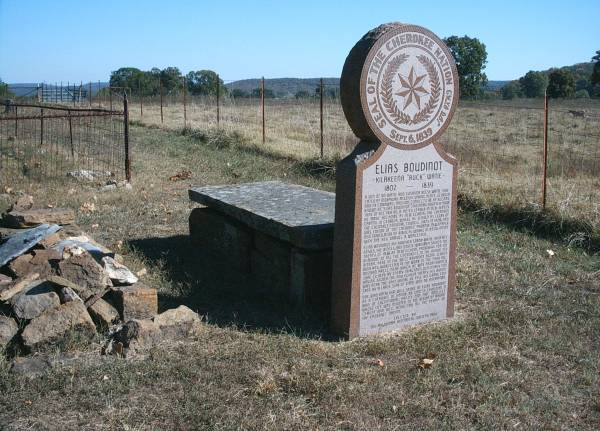 Elias Boudinot is buried at Worcester Mission Cemetery, Park Hill, Oklahoma.