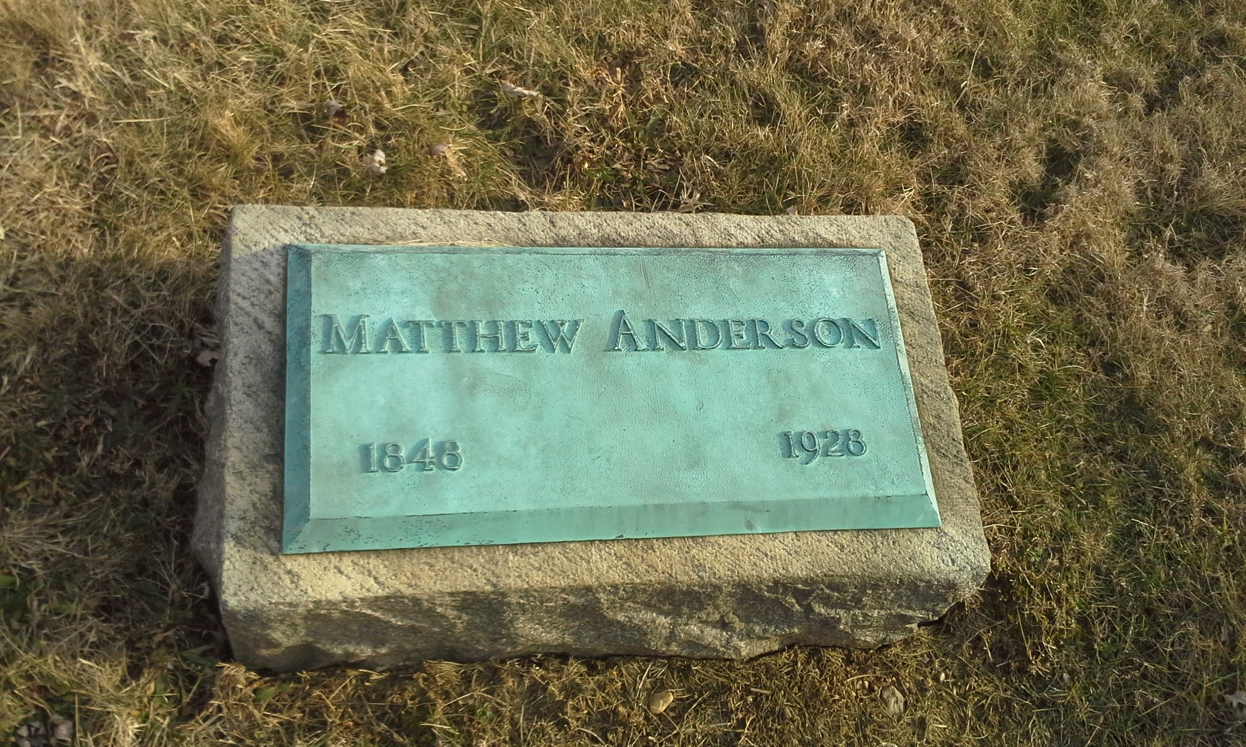 "Matthew Anderson is buried at Eden Cemetery, Collingdale, Pennsylvania. This is ""America's oldest African American public burial ground established in 1902."" It is believed that Anderson's actual birth date was January 25, 1845."