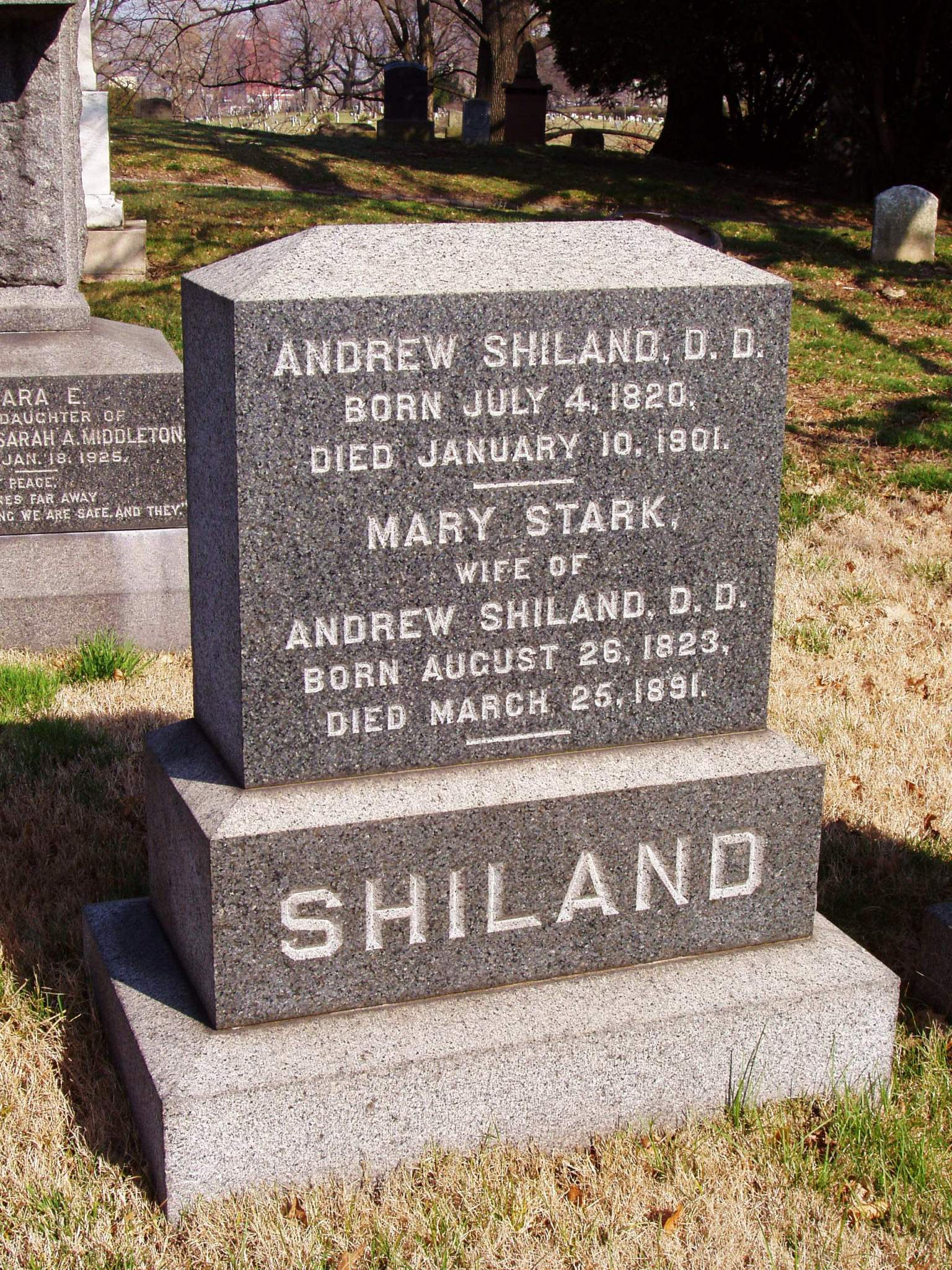Andrew Shiland is buried at Green-Wood Cemetery, Brooklyn, New York.