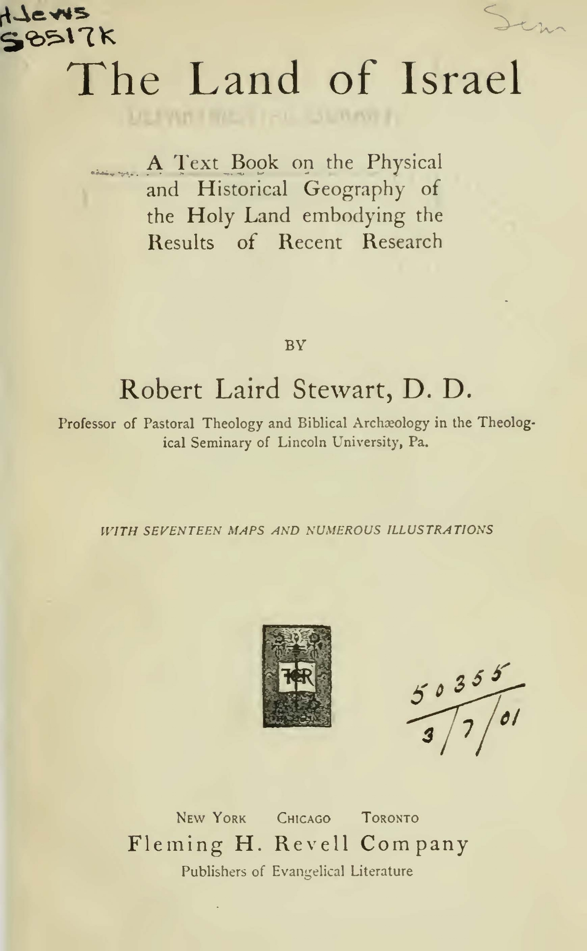 Stewart, Robert Laird, The Land of Israel Title Page.jpg