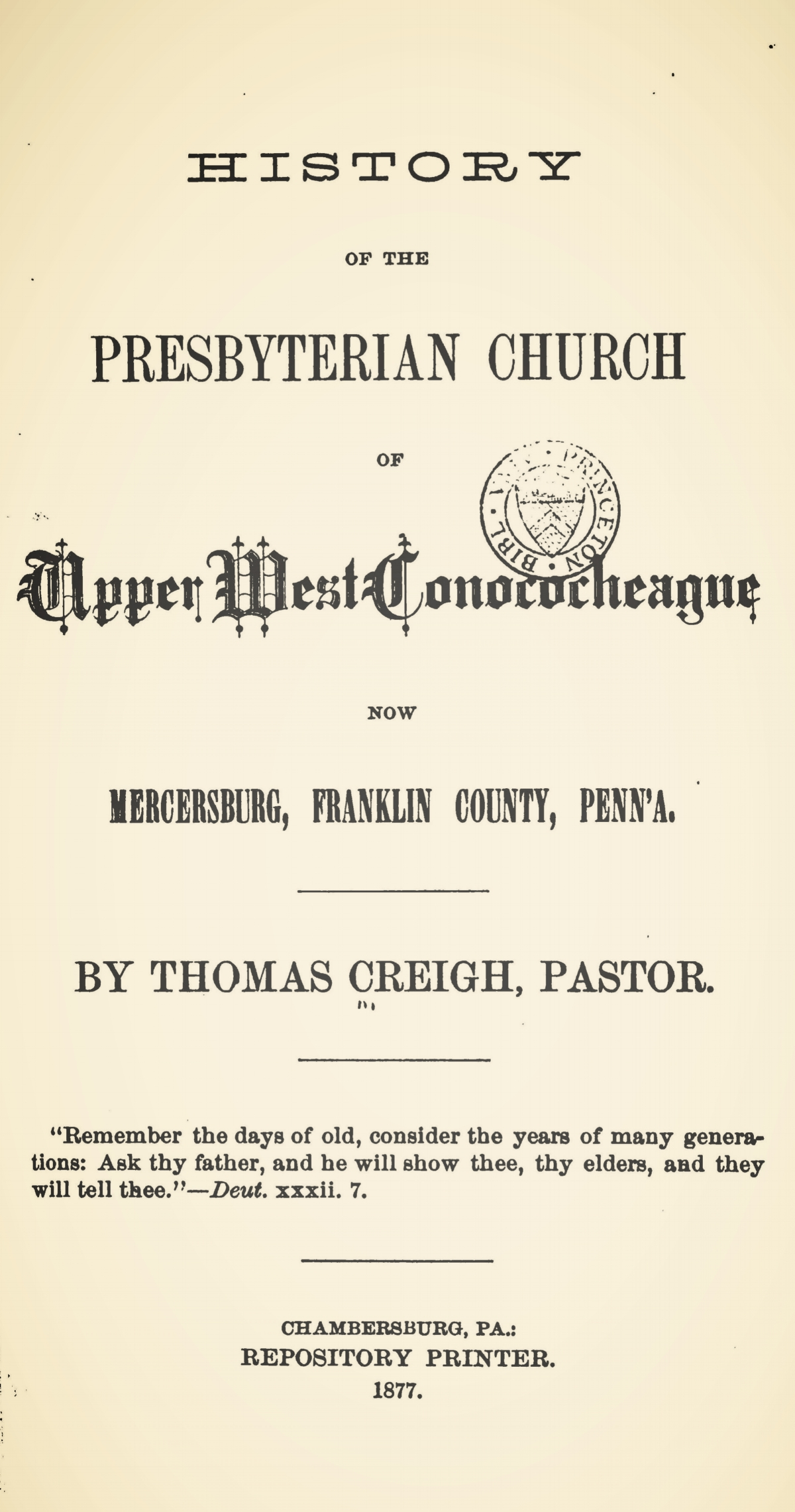 Creigh, Thomas, History of the Presbyterian Church of Upper West Conococheague Title Page.jpg