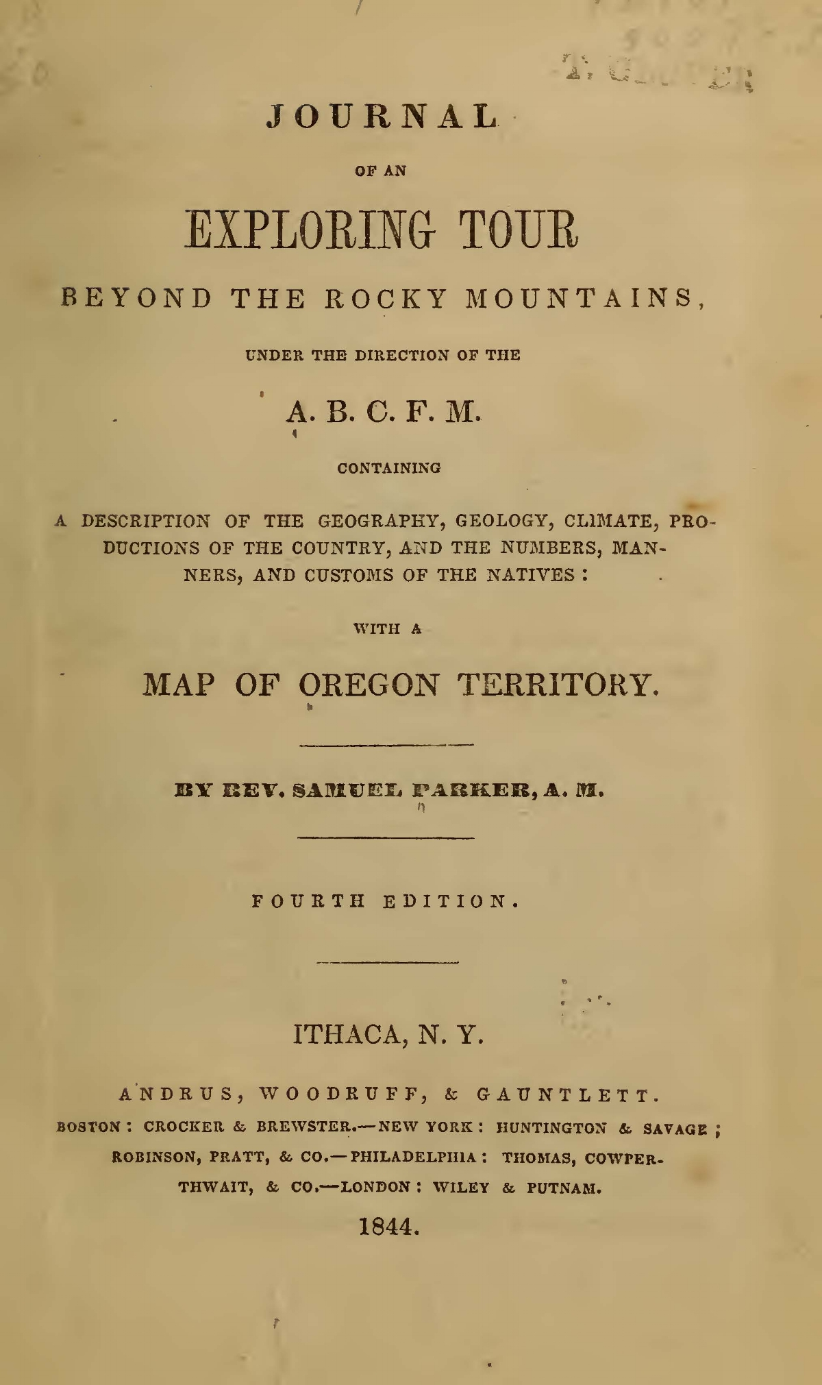 Parker, Samuel, Journal of an Exploring Tour Beyond the Rocky Mountains Title Page.jpg