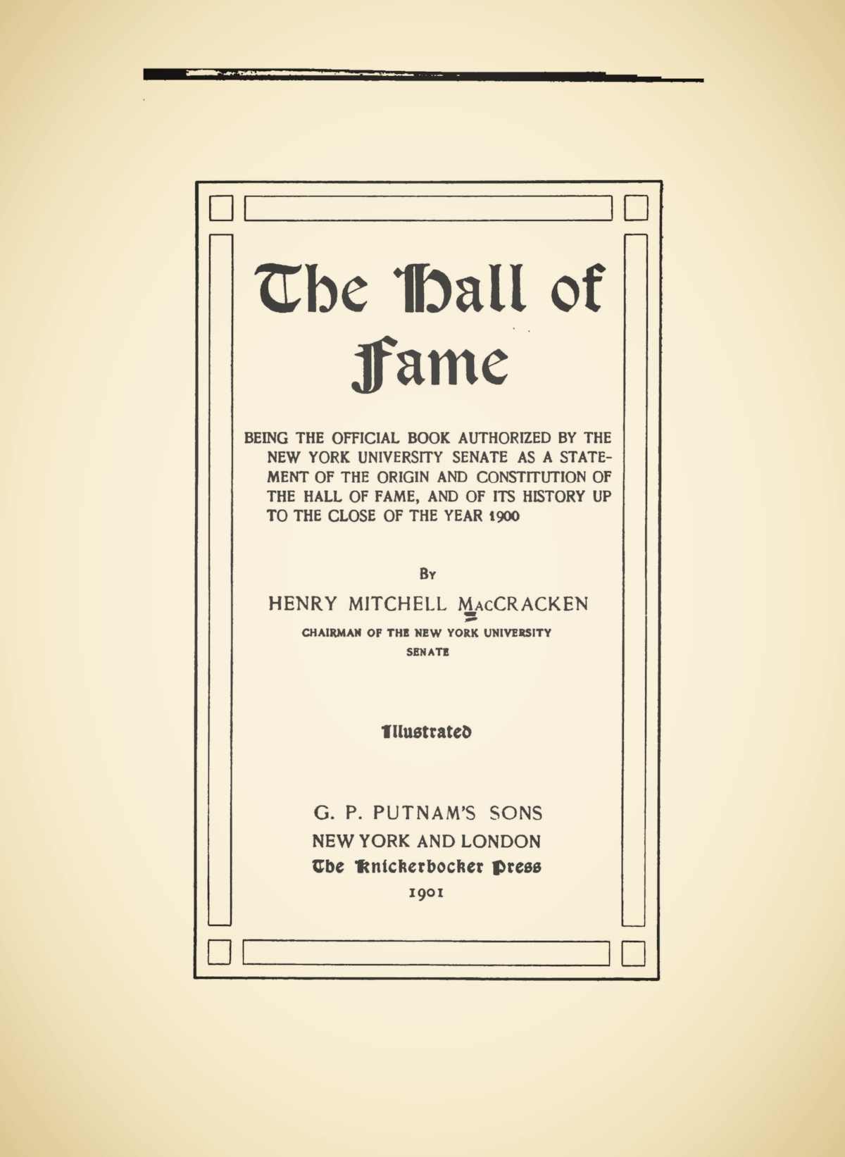 MacCracken, Henry Mitchell, The Hall of Fame Title Page.jpg