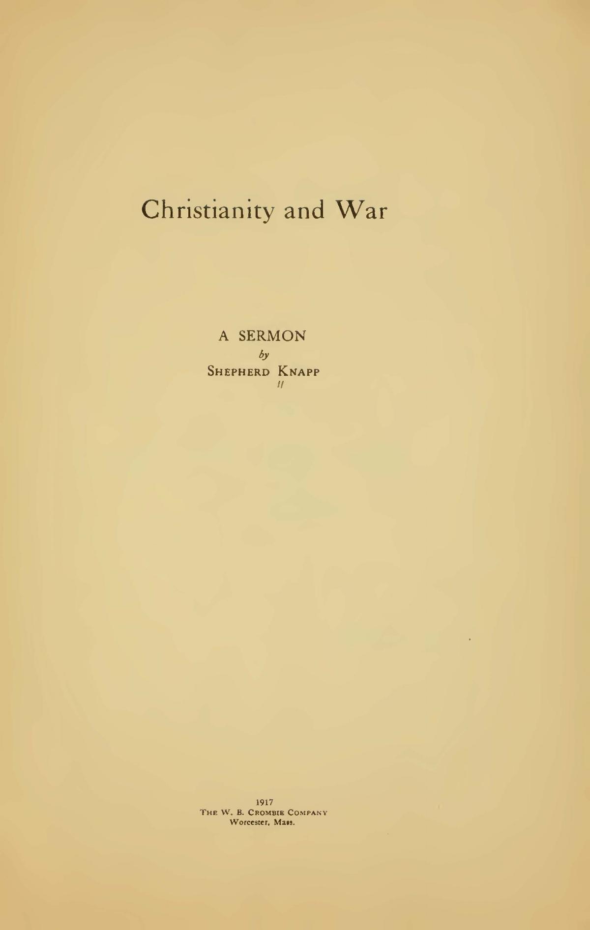 Knapp, Jr., Shepherd, Christianity and War Title Page.jpg