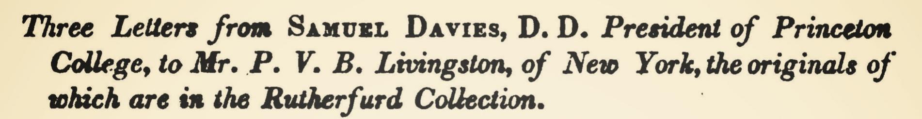Davies, Samuel, Three Letters From Samuel Davies Title Page.jpg