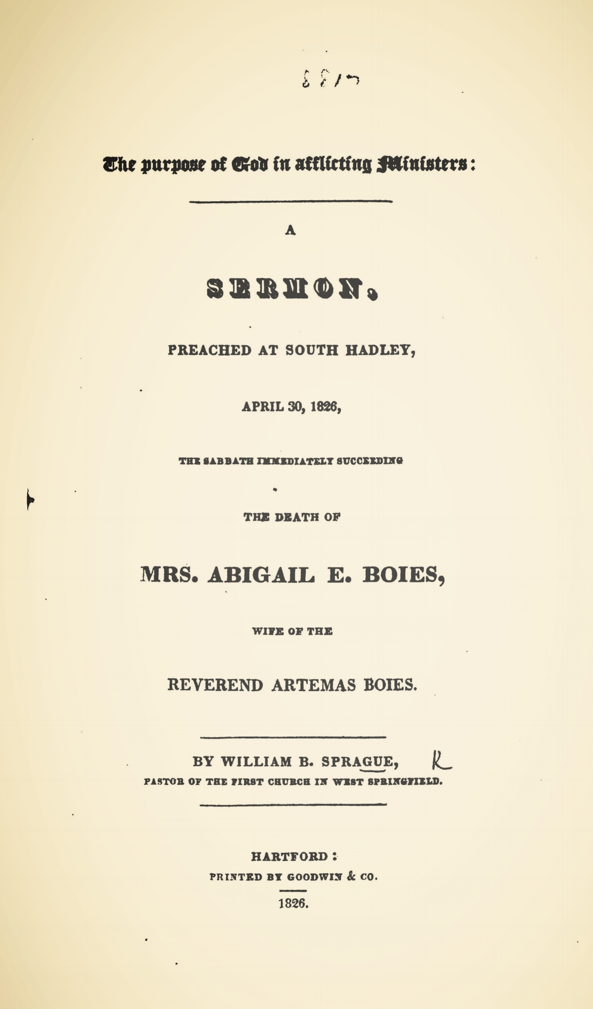 Sprague, William Buell, The Purpose of God in Afflicting Ministers Title Page.jpg