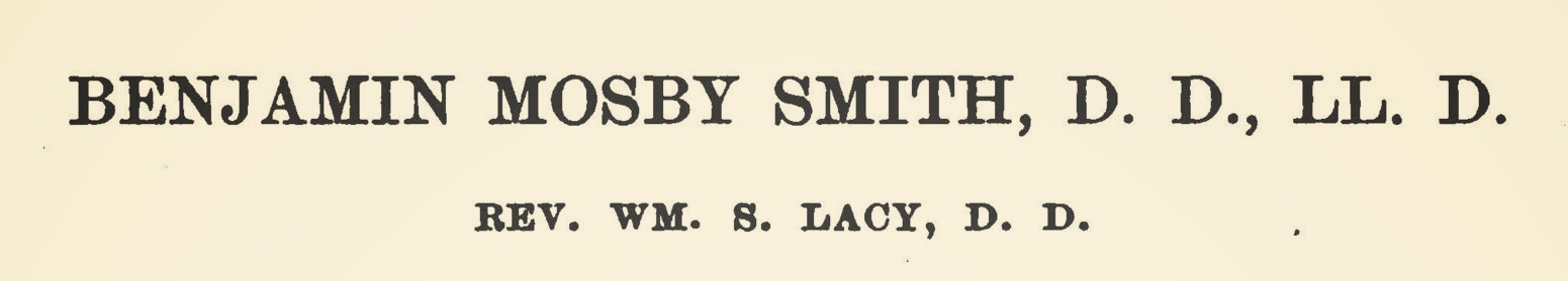 Lacy, William Sterling, Benjamin Mosby Smith Title Page.jpg