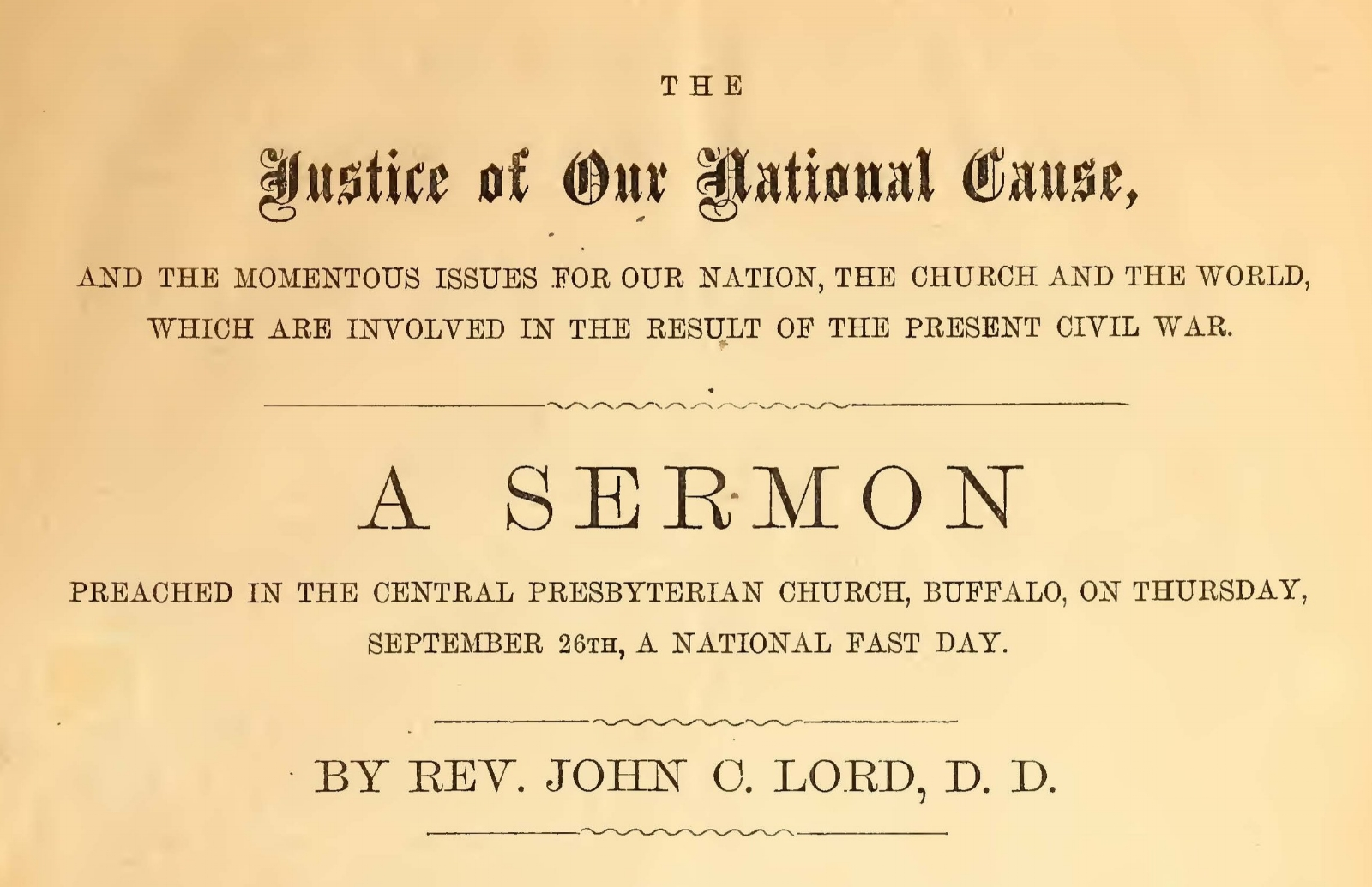 Lord, John Chase, The Justice of Our National Cause Title Page.jpg