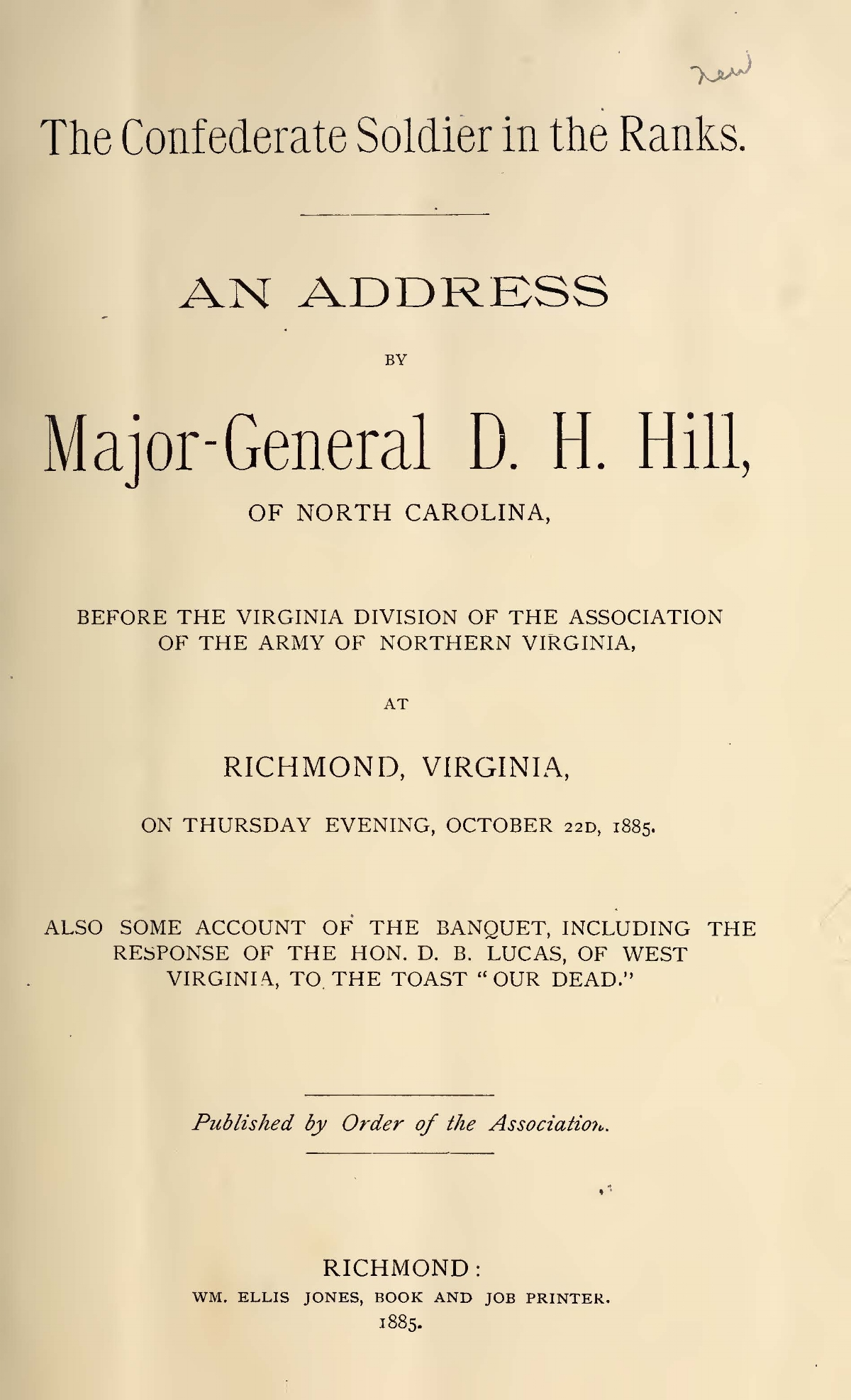 Hill, Daniel Harvey, The Confederate Soldier in the Ranks Title Page.jpg