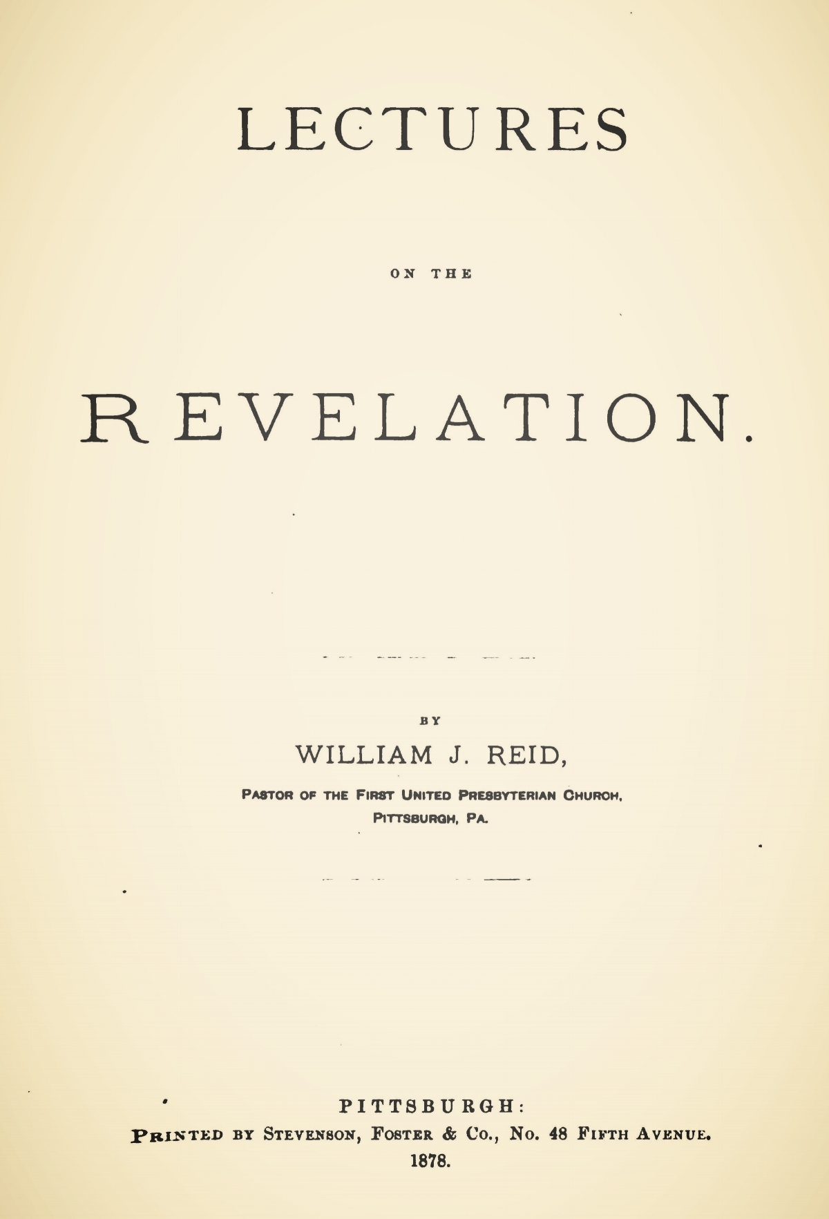Reid, William James, Lectures on the Revelation Title Page.jpg