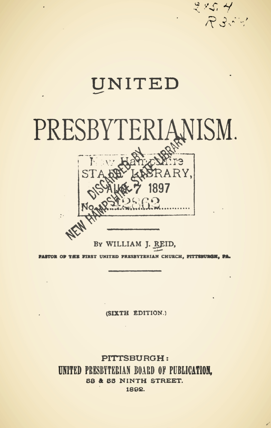 Reid, William James, United Presbyterianism Title Page.jpg