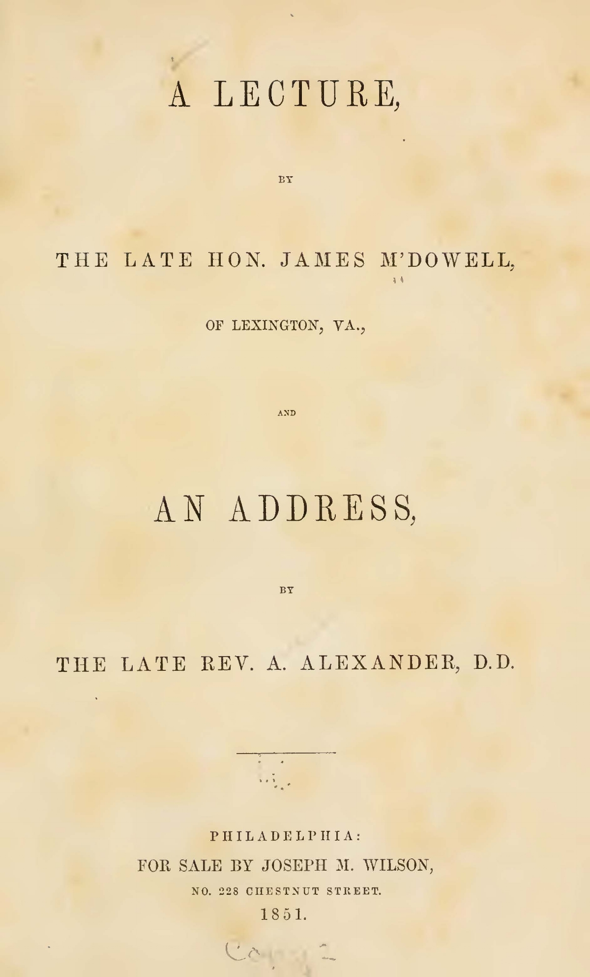Alexander, Archibald, An Address at the Laying of the Cornerstone Title Page.jpg