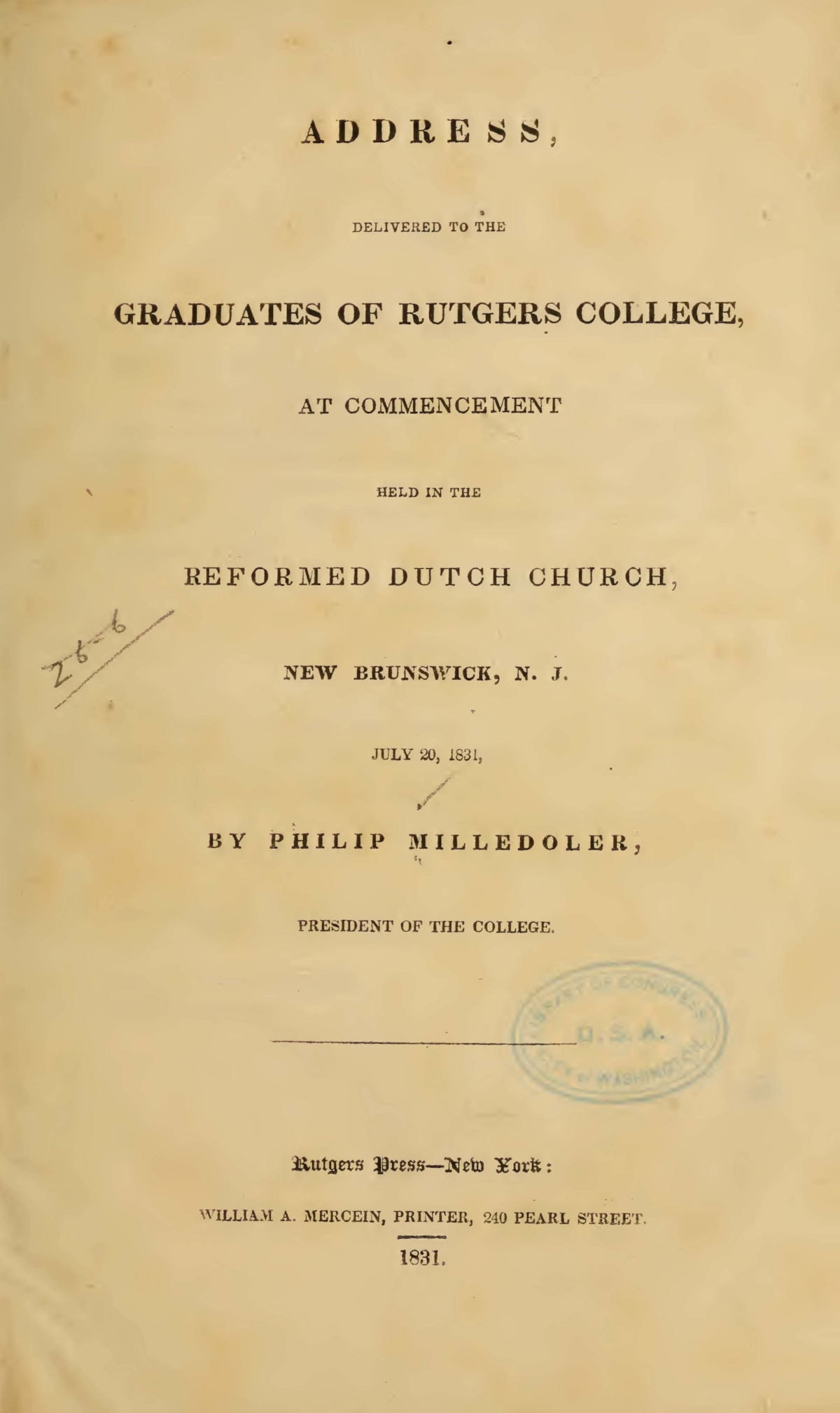 Milledoler, Philip, Address, Delivered to the Graduates of Rutgers College Title Page.jpg