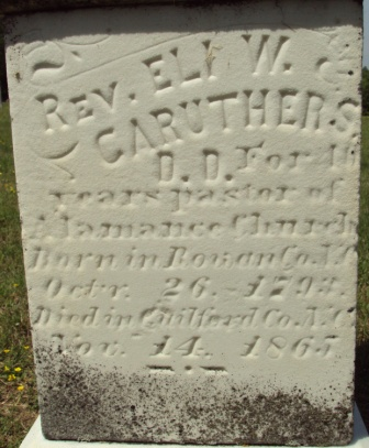 Eli Washington Caruthers is buried at Alamance Presbyterian Church Cemetery, Greensboro, North Carolina