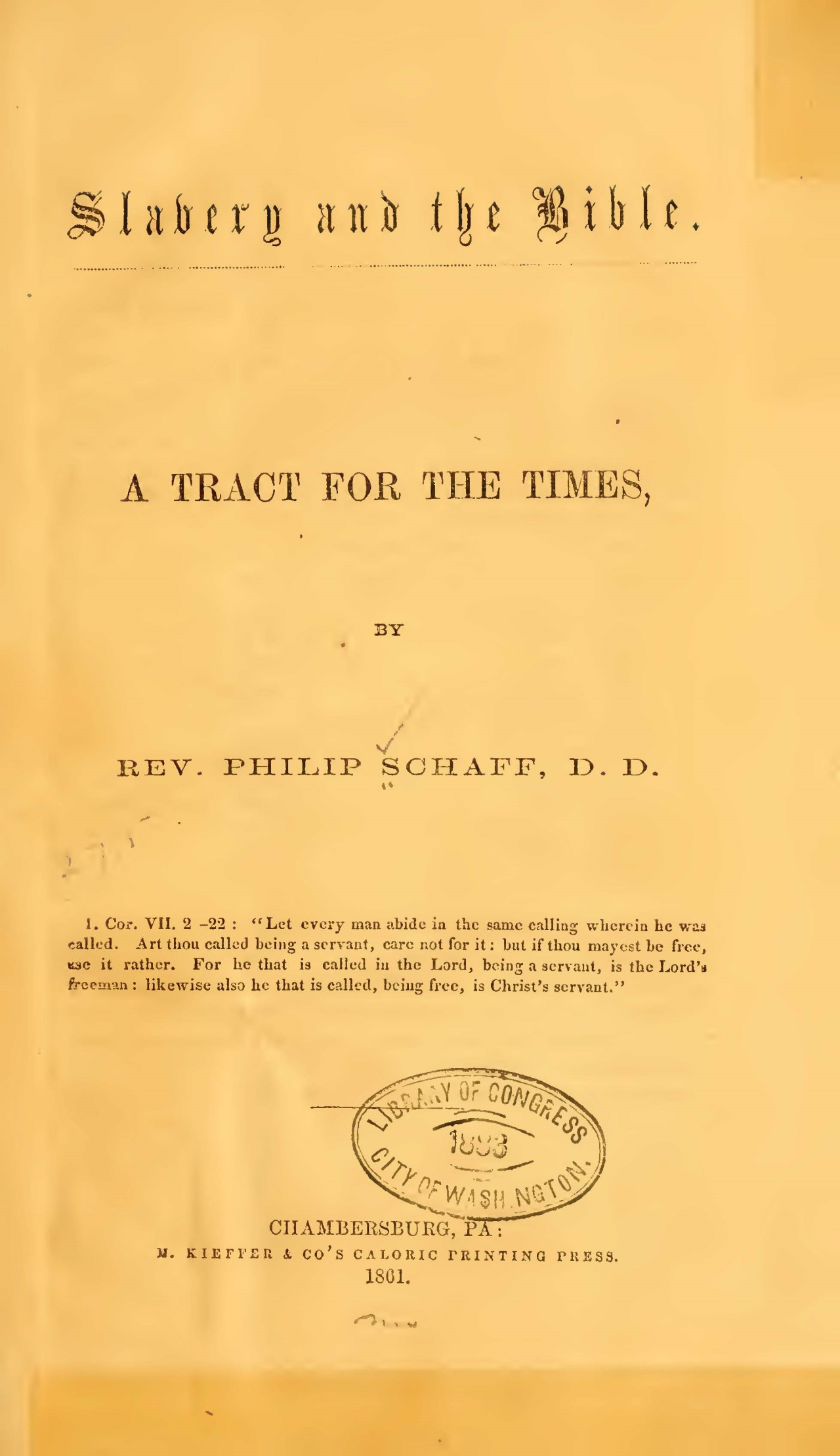 Schaff, Philip, Slavery and the Bible Title Page.jpg