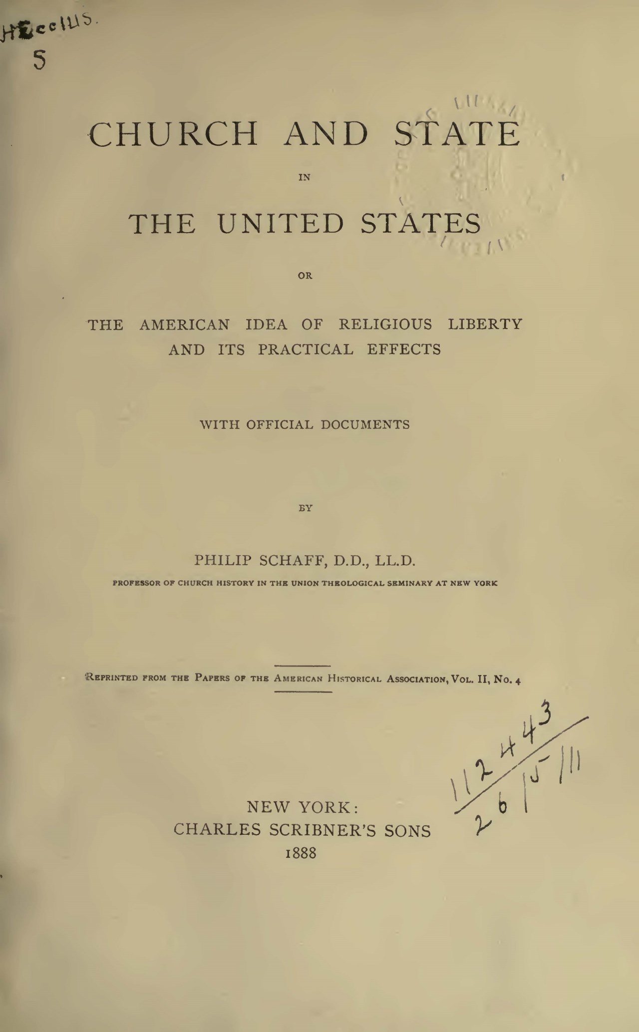 Schaff, Philip, Church and State in the United States Title Page.jpg