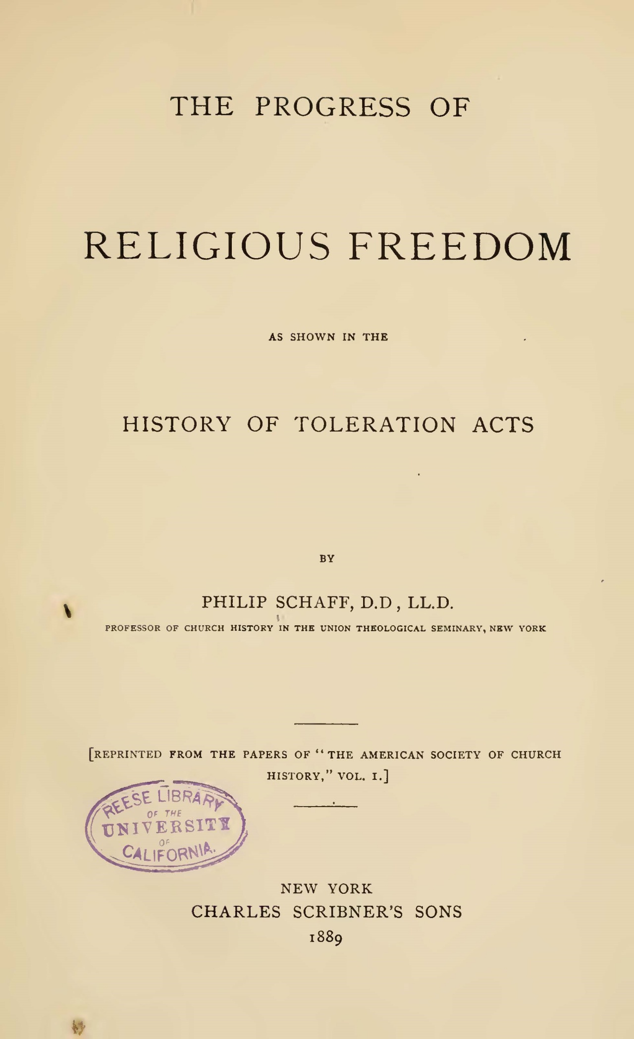 Schaff, Philip, The Progress of Religious Freedom Title Page.jpg