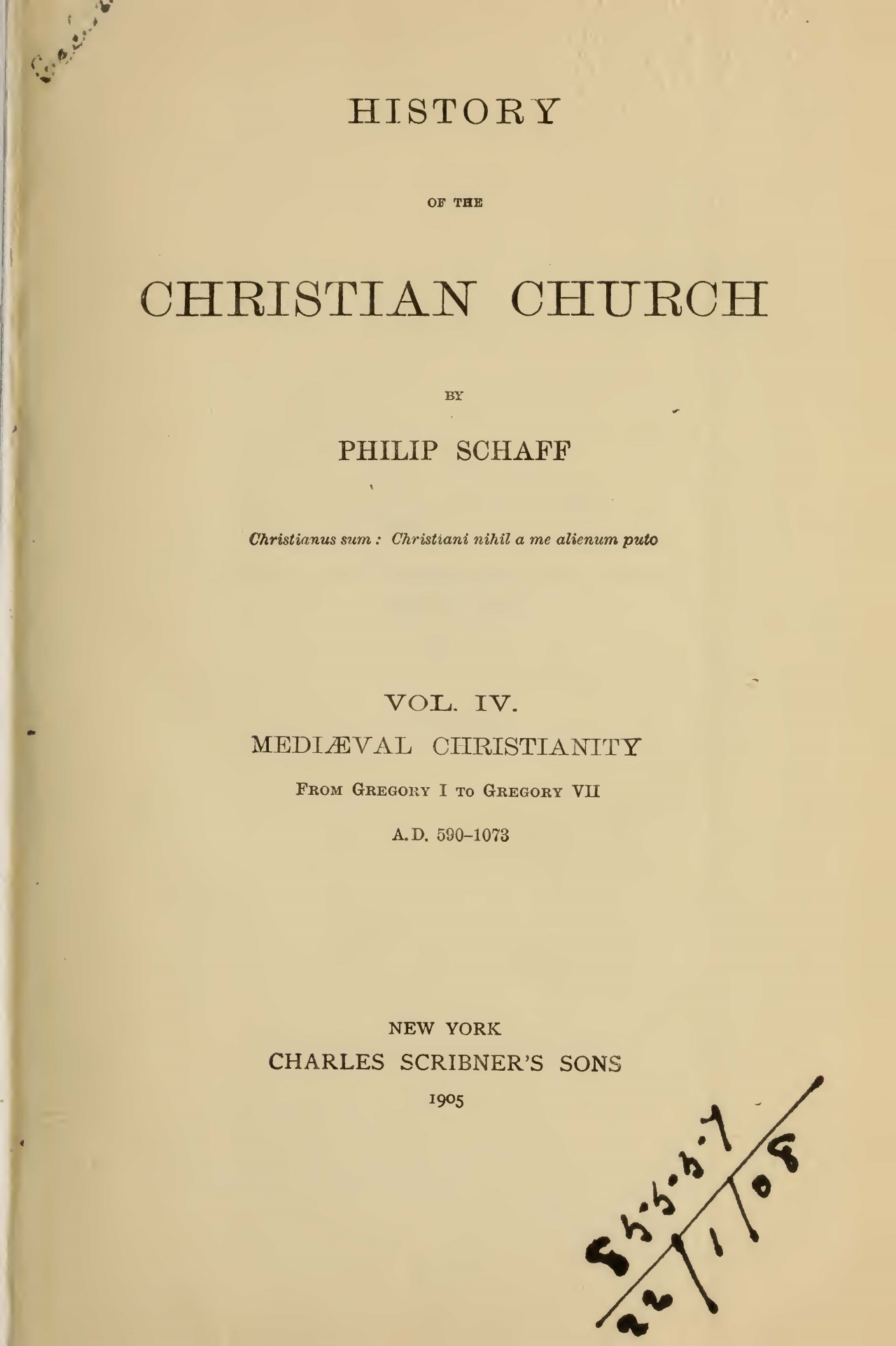 Schaff, Philip, History of the Christian Church, Vol. 4 Title Page.jpg