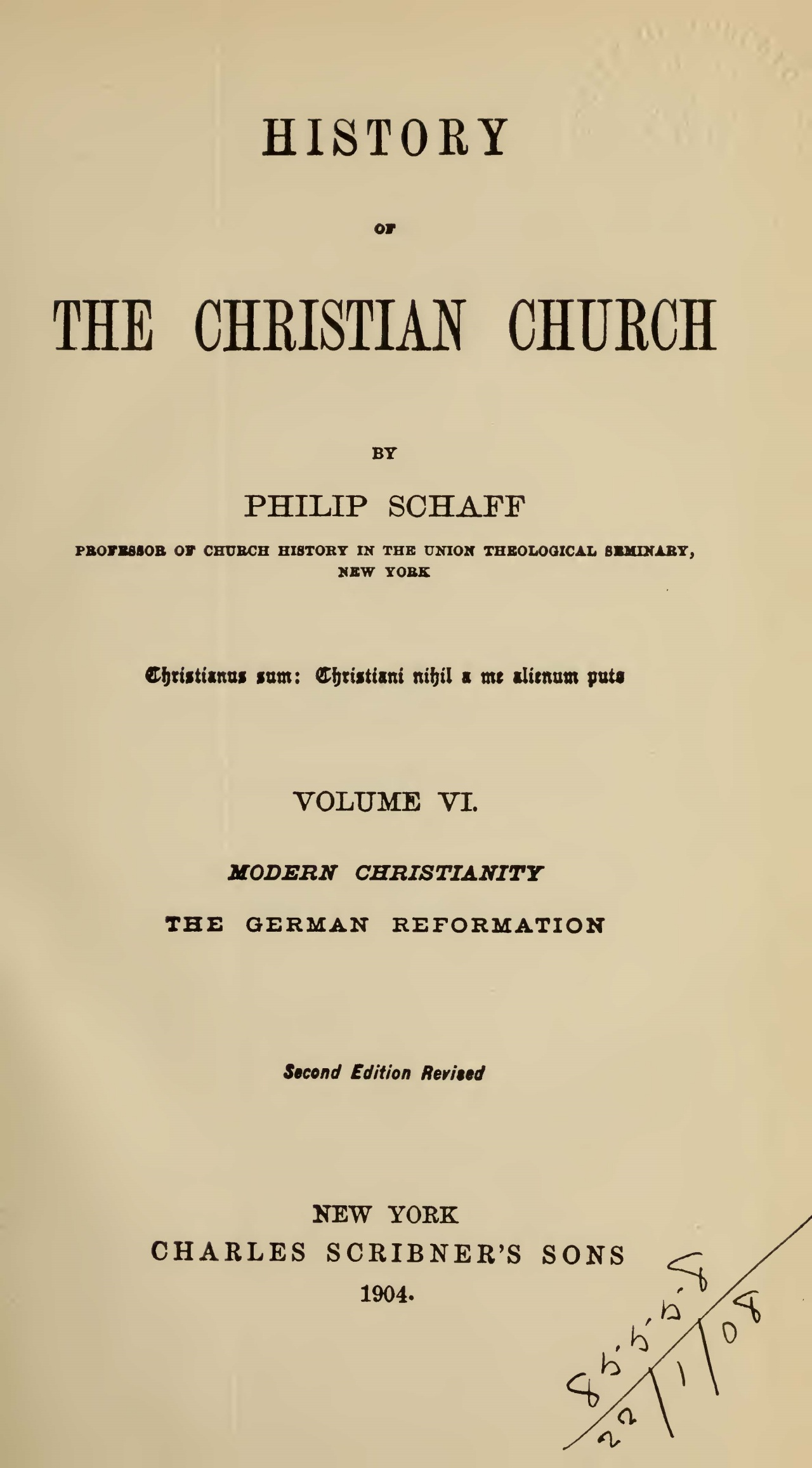 Schaff, Philip, History of the Christian Church, Vol. 6 Title Page.jpg
