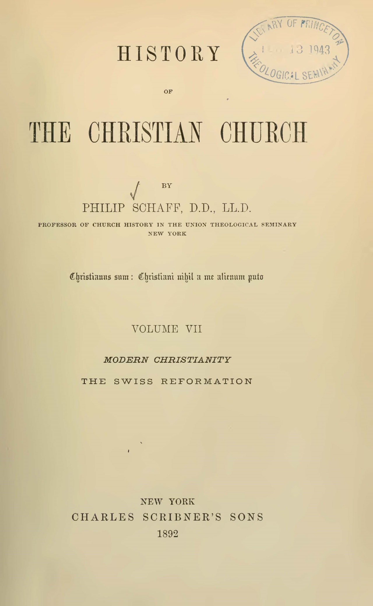 Schaff, Philip, History of the Christian Church, Vol. 7 Title Page.jpg