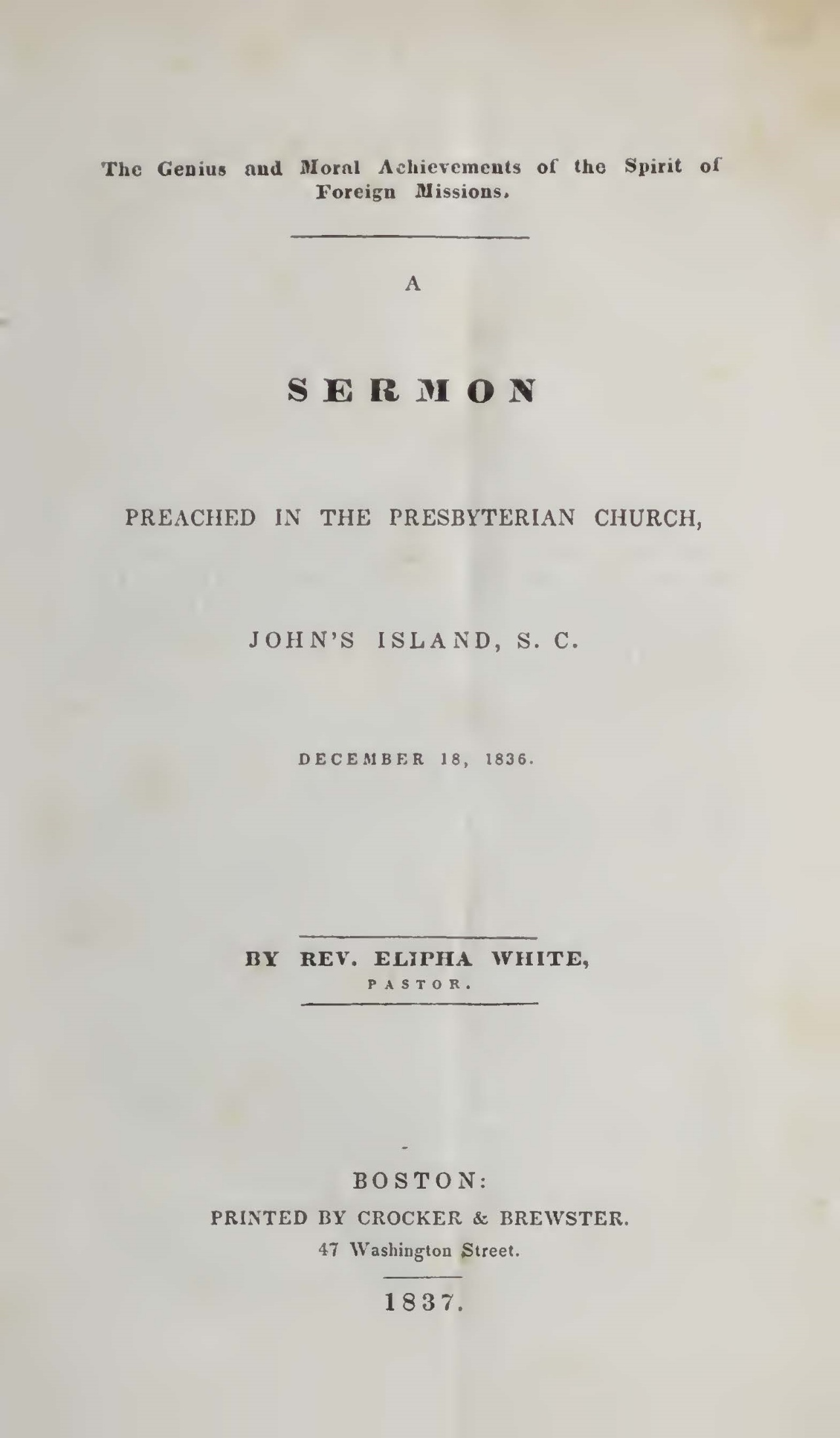 White, Elipha, A Sermon Preached in the Presbyterian Church Title Page.jpg