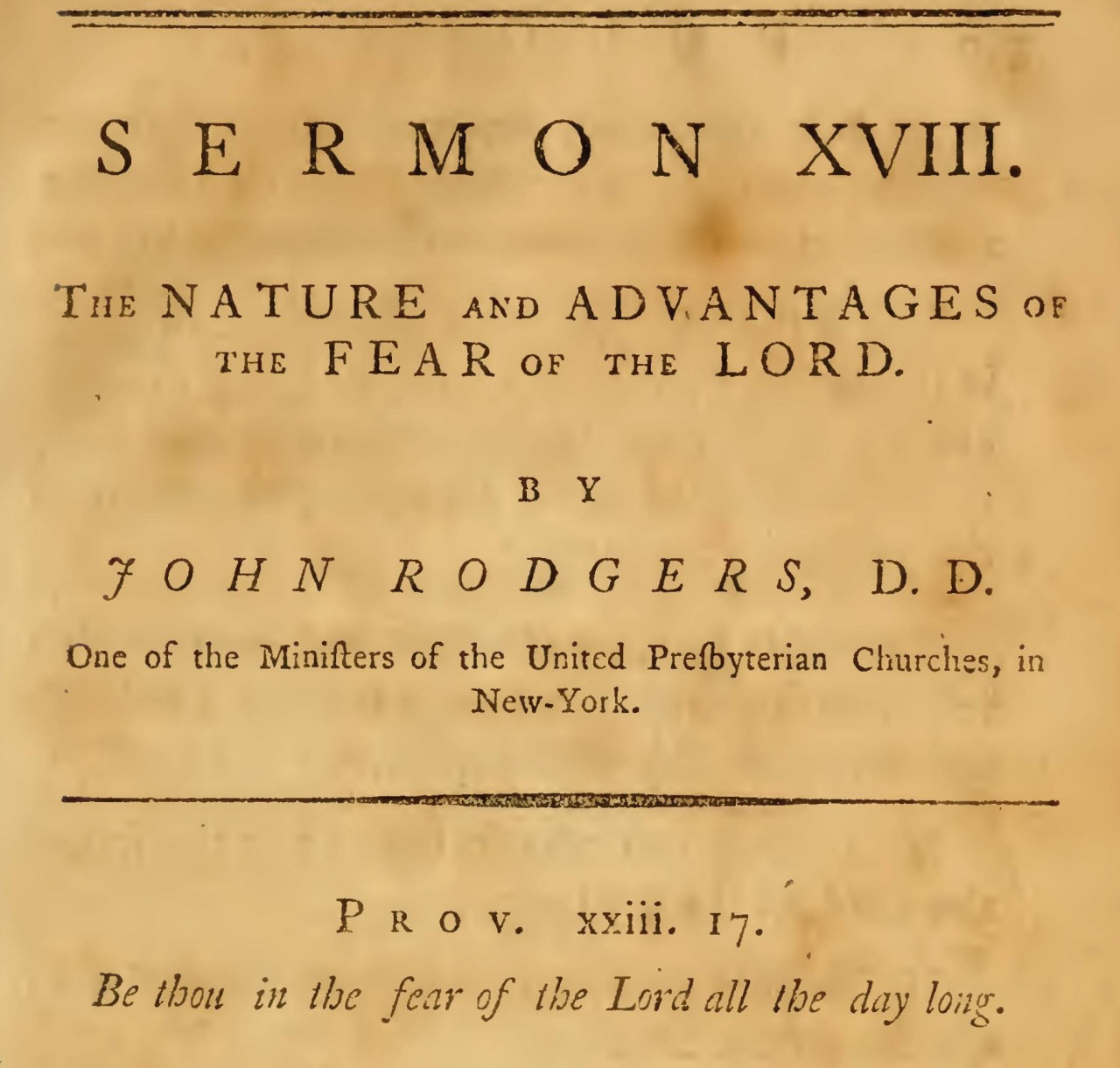 Rodgers, John, The Nature and Advantages of the Fear of the Lord Title Page.jpg