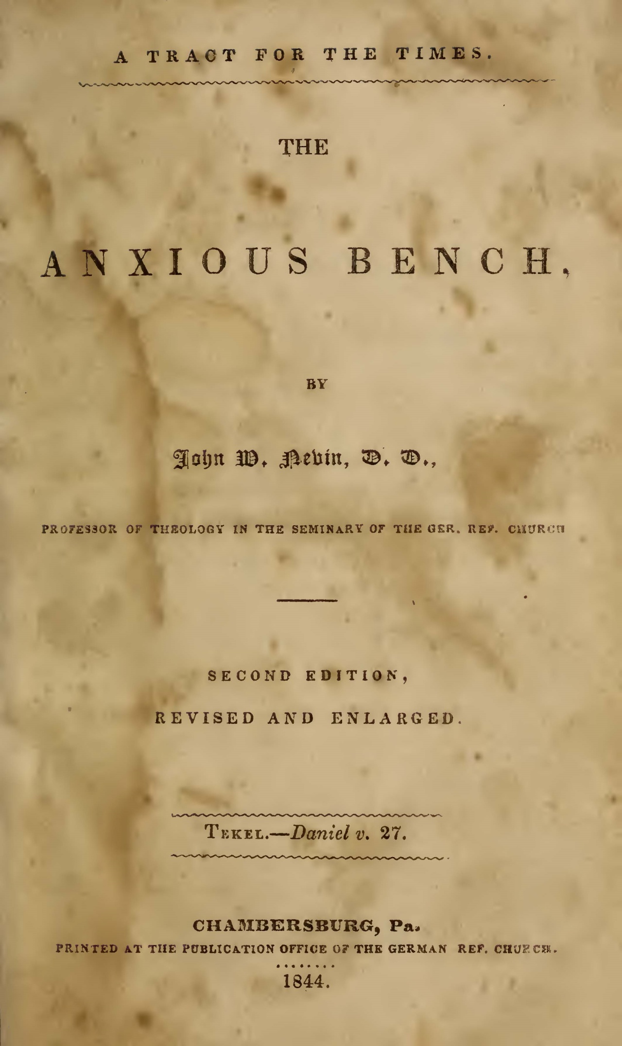 Nevin, John Williamson, The Anxious Bench Title Page.jpg