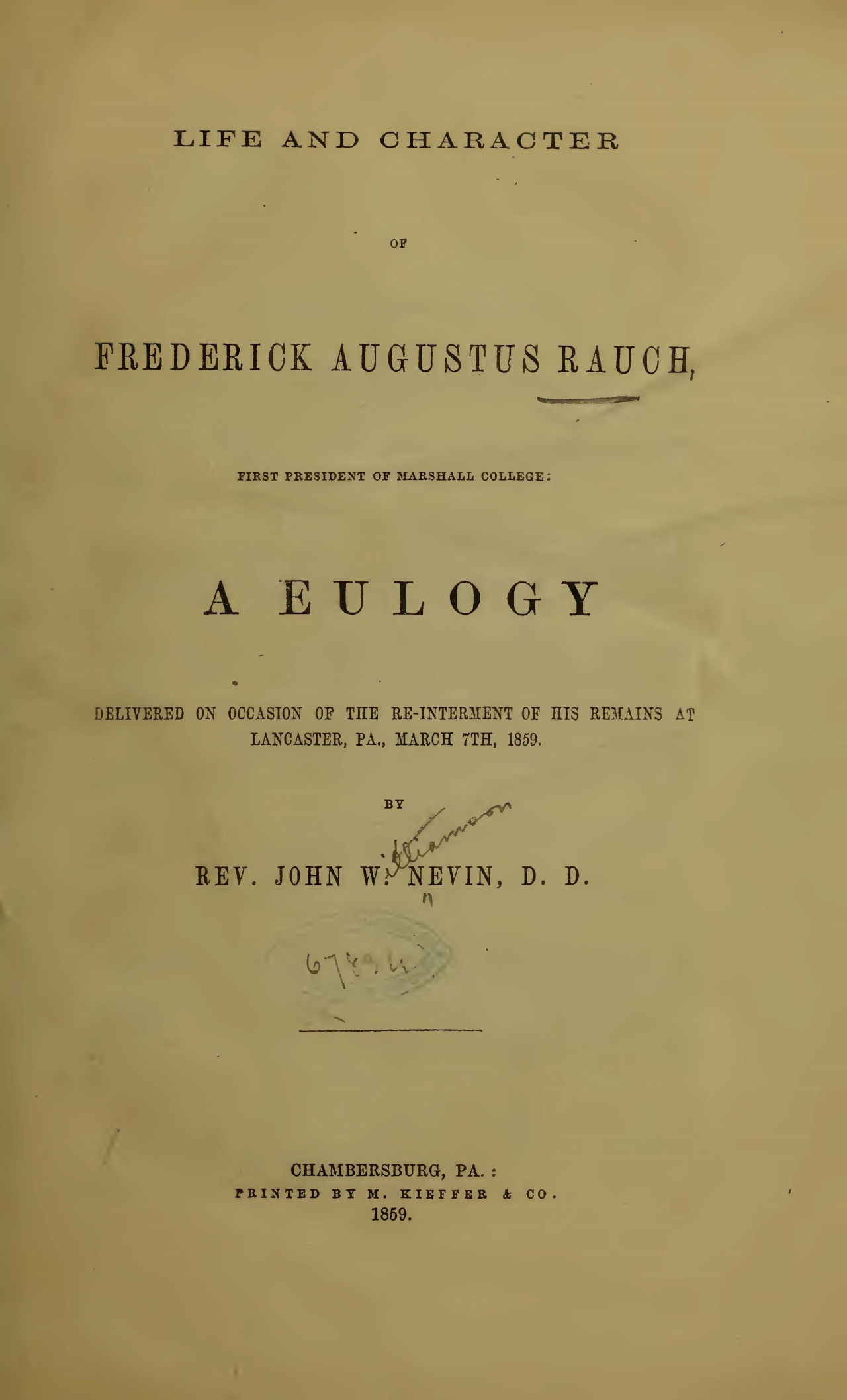 Nevin, John Williamson, Life and Character of Frederick Augustus Rauch Title Page.jpg