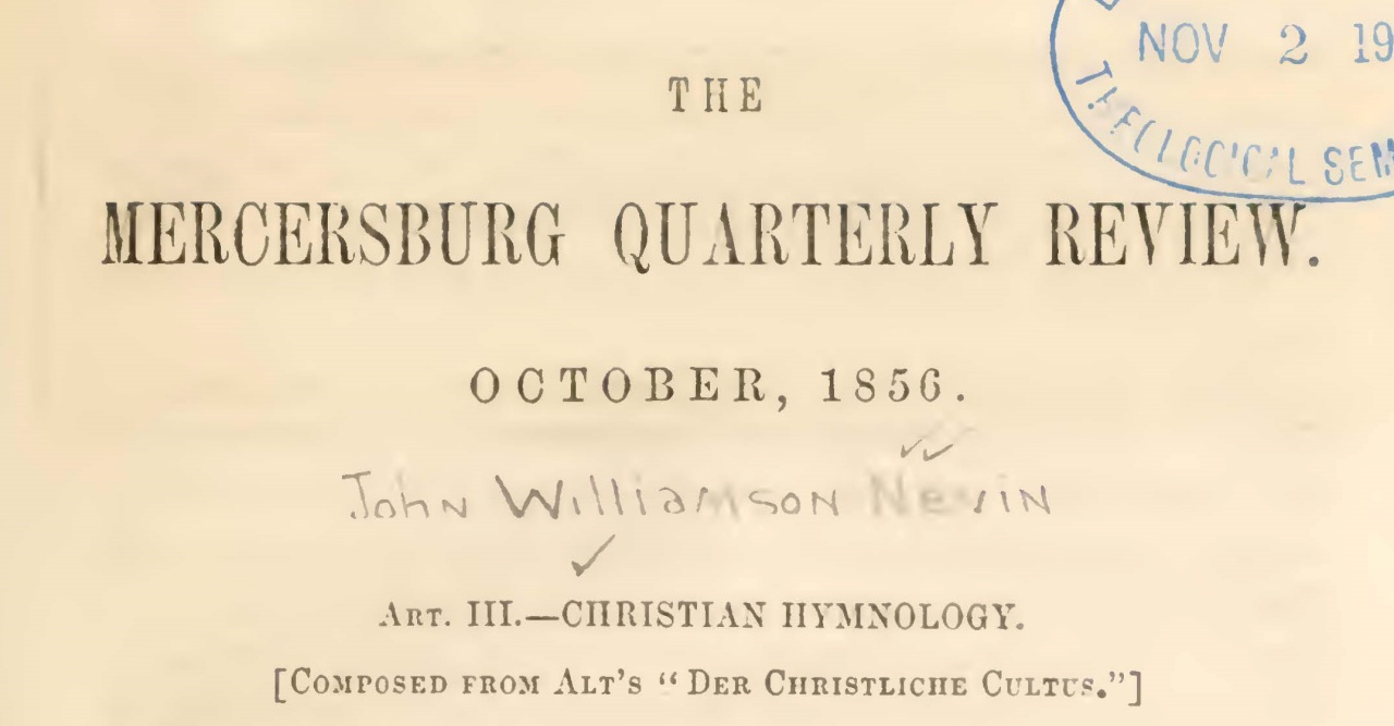 Nevin, John Williamson, Christian Hymnology Title Page.jpg