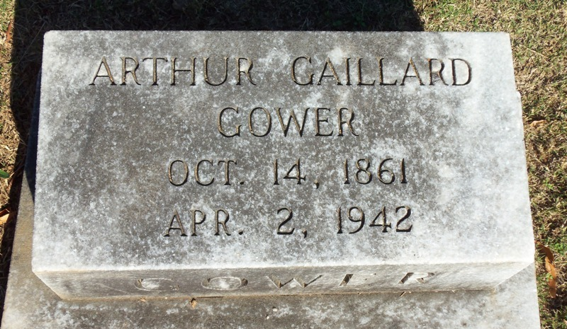 Arthur Gaillard Gower is buried at Springwood Cemetery, Greenville, South Carolina.